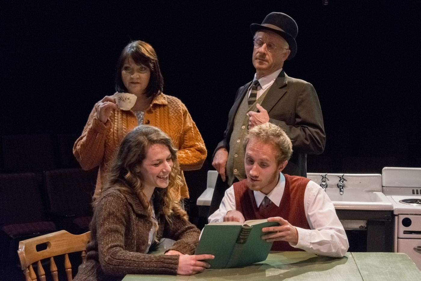 "The flawless ensemble of ""A Life"" includes, from left, Josephine Hogan, Genevieve Lerner, Vincent O'Neill and Joe Liolos."