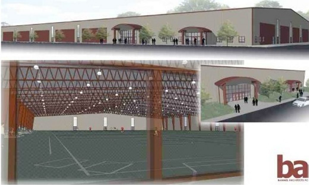 The proposed Lewiston Civic Center is shown in an architect's rendering. The fate of the center on Creek Road will be determined at a public vote July 15.