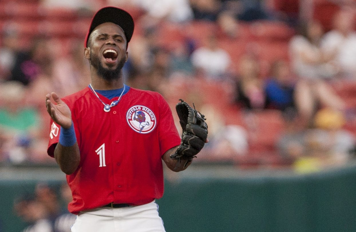 Jose Reyes acts as if he is very happy to be playing baseball again, as he joined the Bisons on Friday.