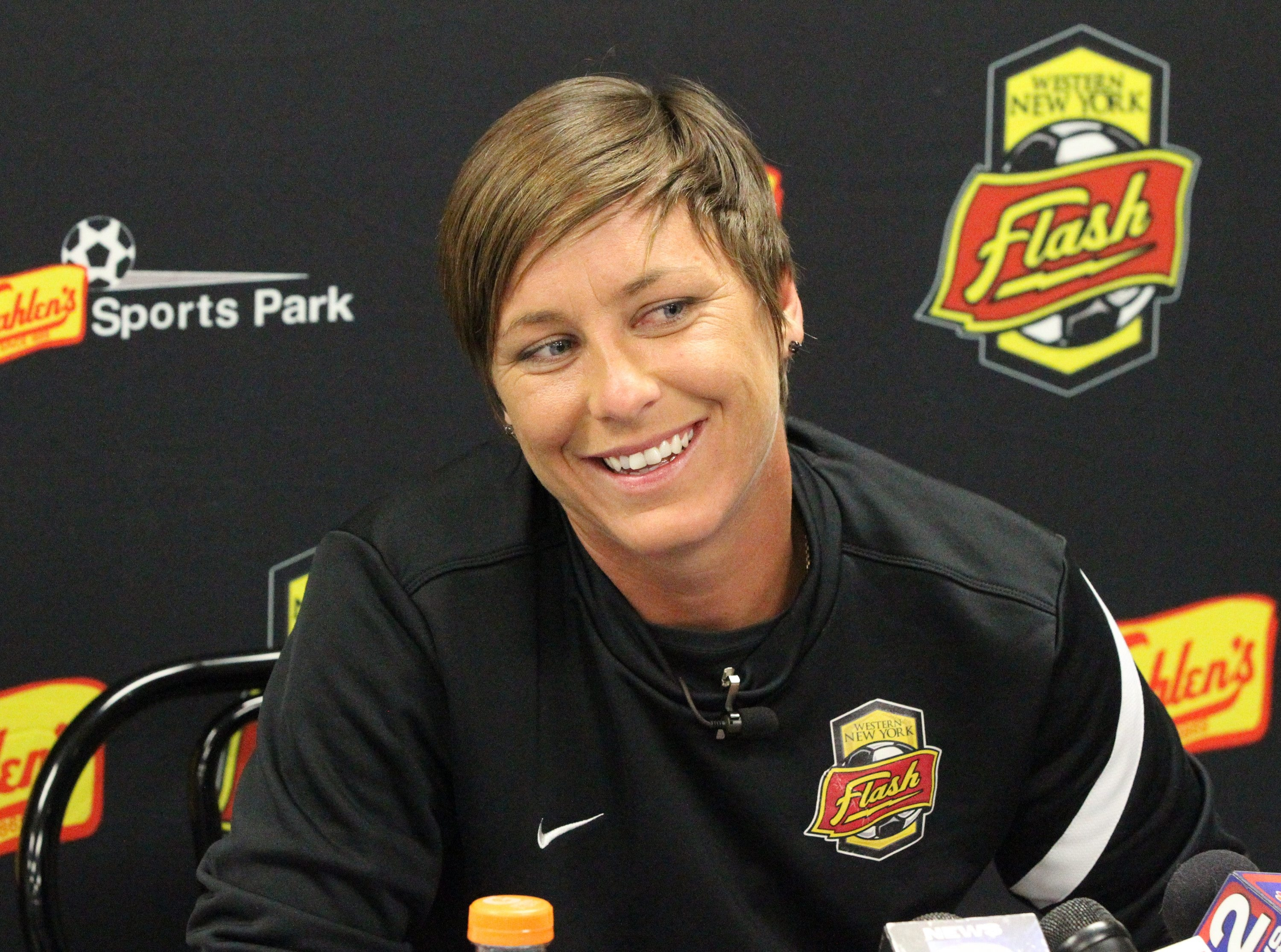 Abby Wambach talked about her record-setting night during a press conference at Sahlen's Sports Park in Elma Friday.