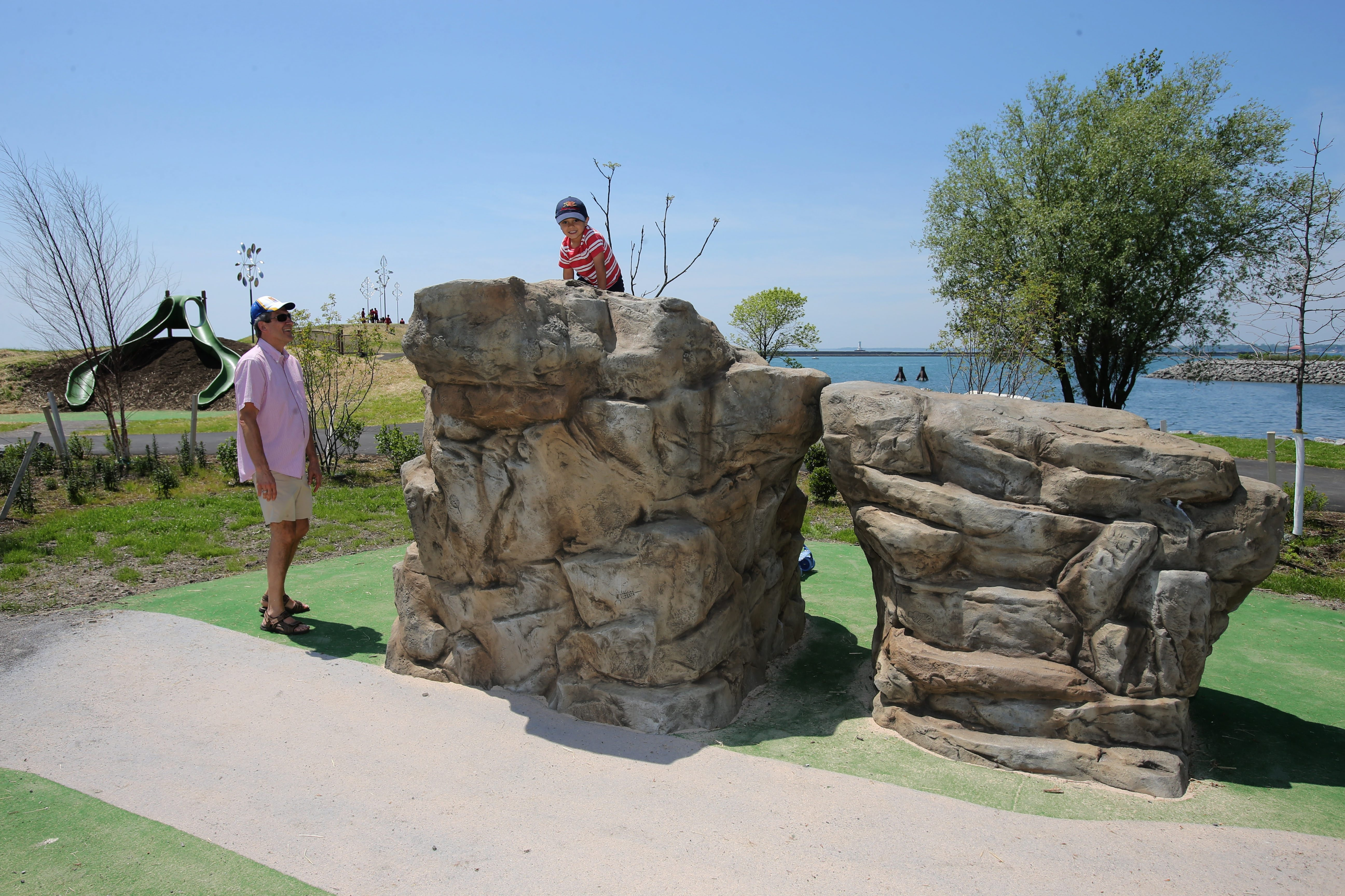Wilkeson Point: Visitors explore the new waterfront park on Fuhrmann Boulevard.