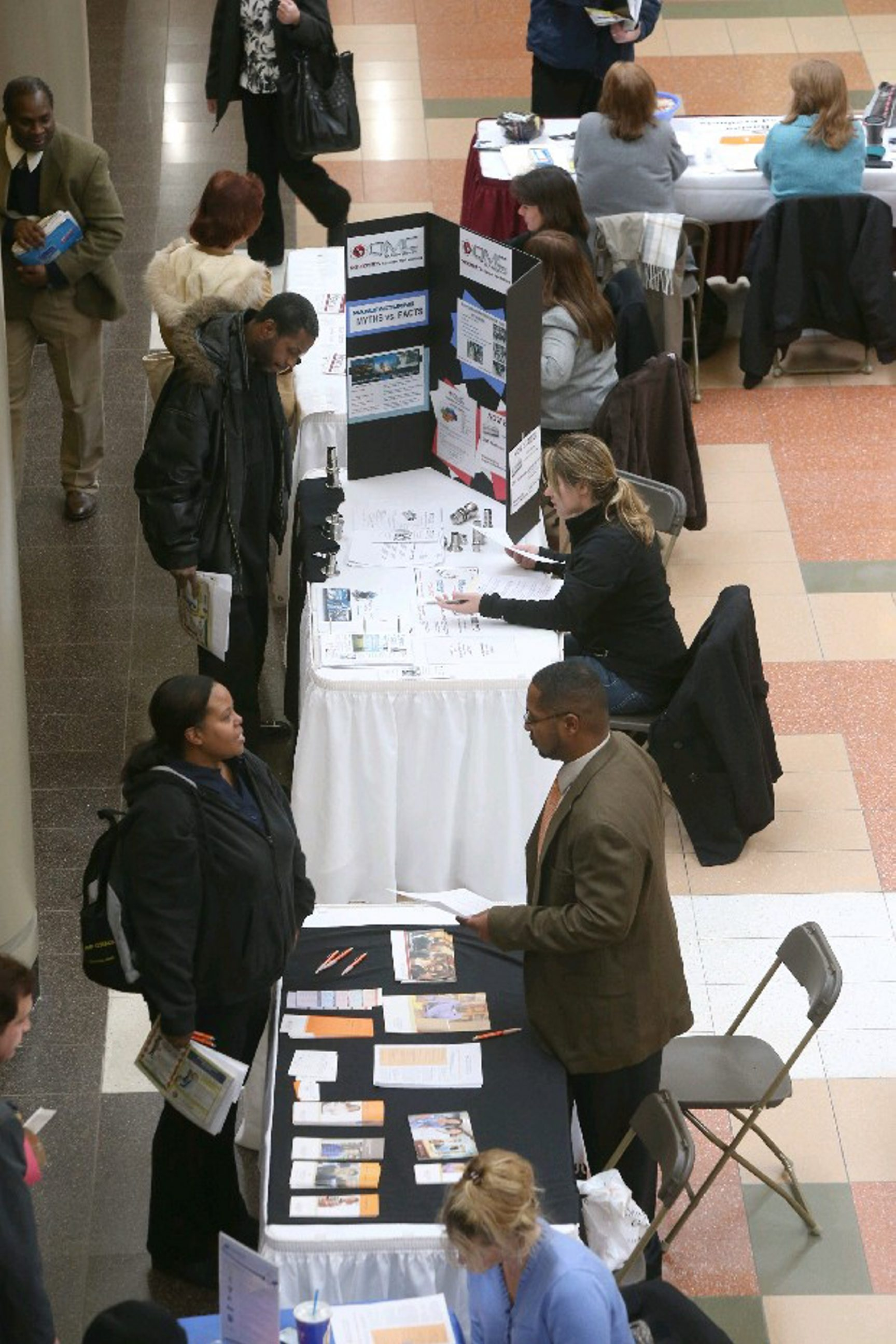 Hundreds of job seekers attended a job fair at the Walden Galleria sponsored by the Cheektowaga Chamber of Commerce.