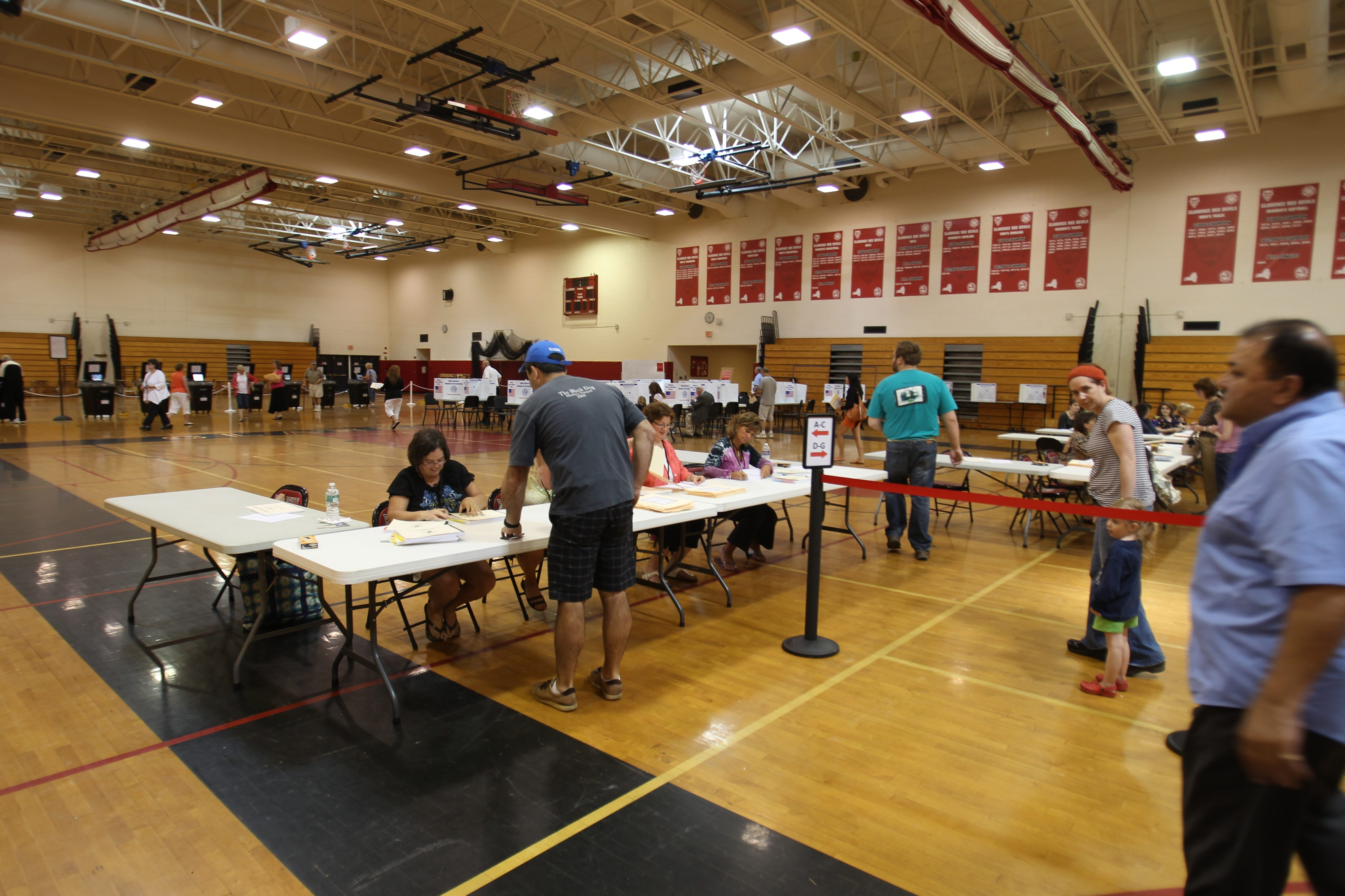 More than 5,000 Clarence voters cast their votes in the much-heated school budget vote at Clarence High School on Tuesday.