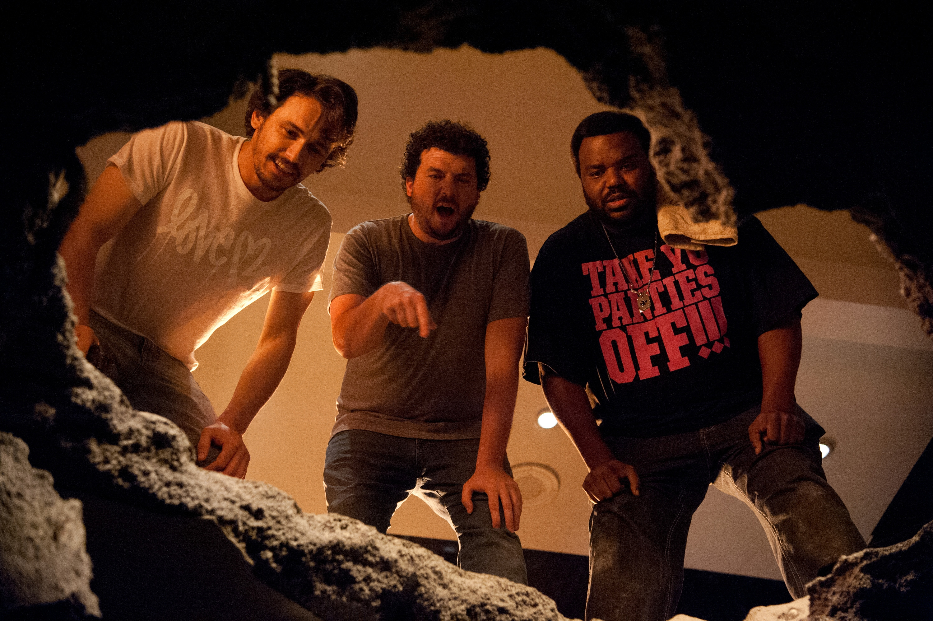 "Is ""This Is The End,"" starring from left, James Franco, Danny McBride and Craig Robinson, a commentary on U.S.-Canada relations?"