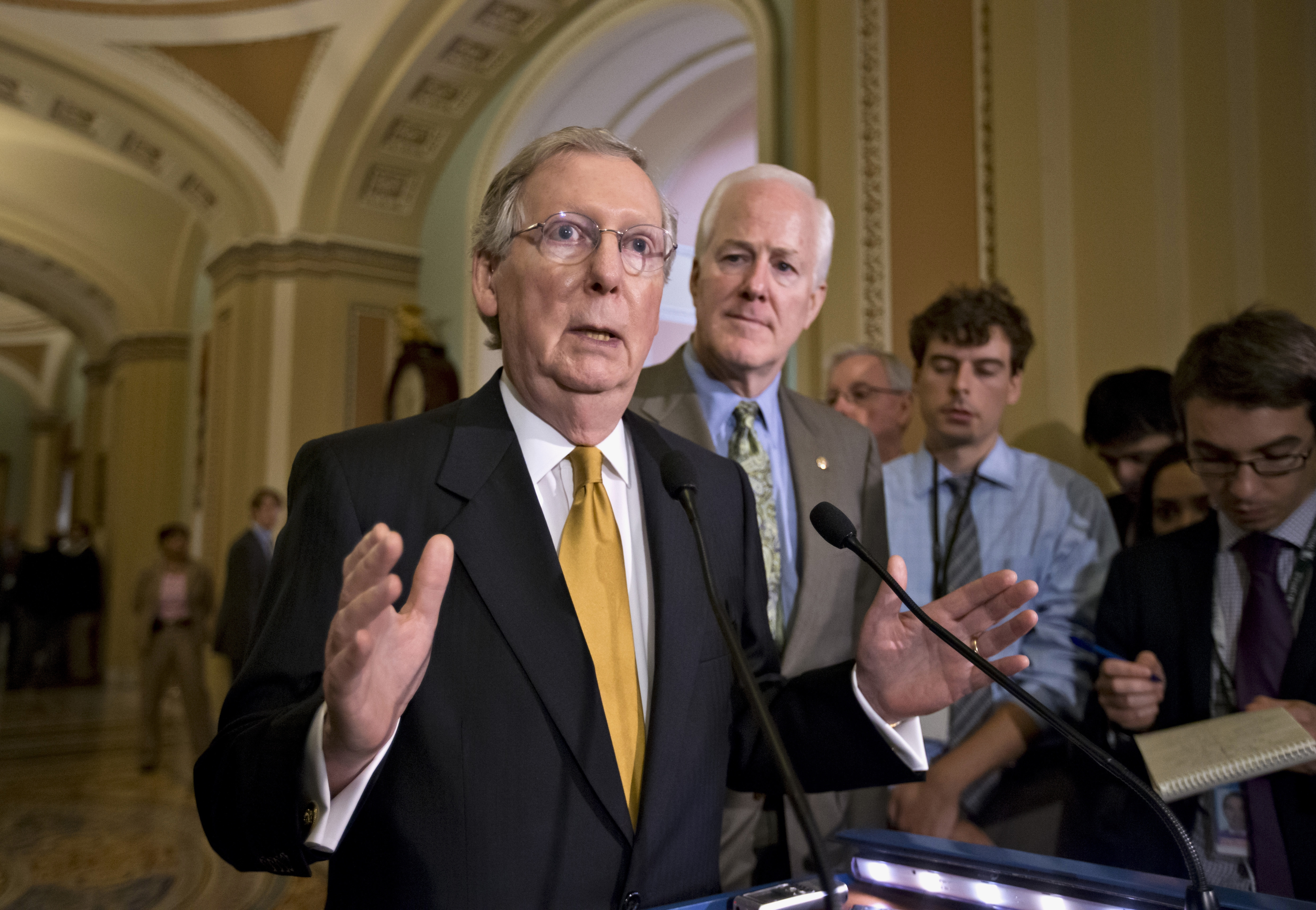 Senate Minority Leader Mitch McConnell, R-Ky., refuses to allow immigration reform to pass the Senate with just a simple majority.  (AP photo)