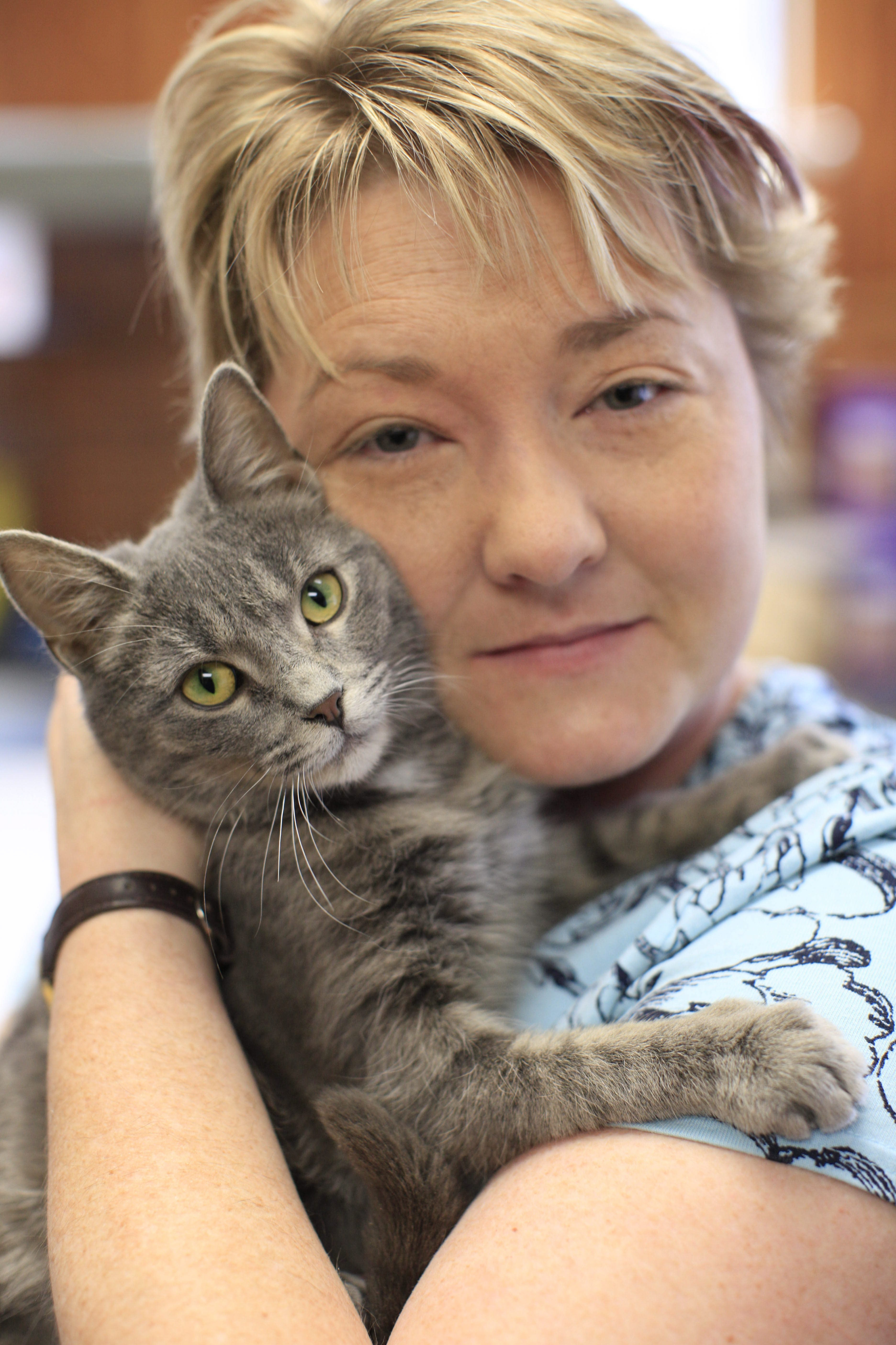 Sally Merritt holds Nickel, who was picked up as a stray and was available for adoption at Buffalo Humane.