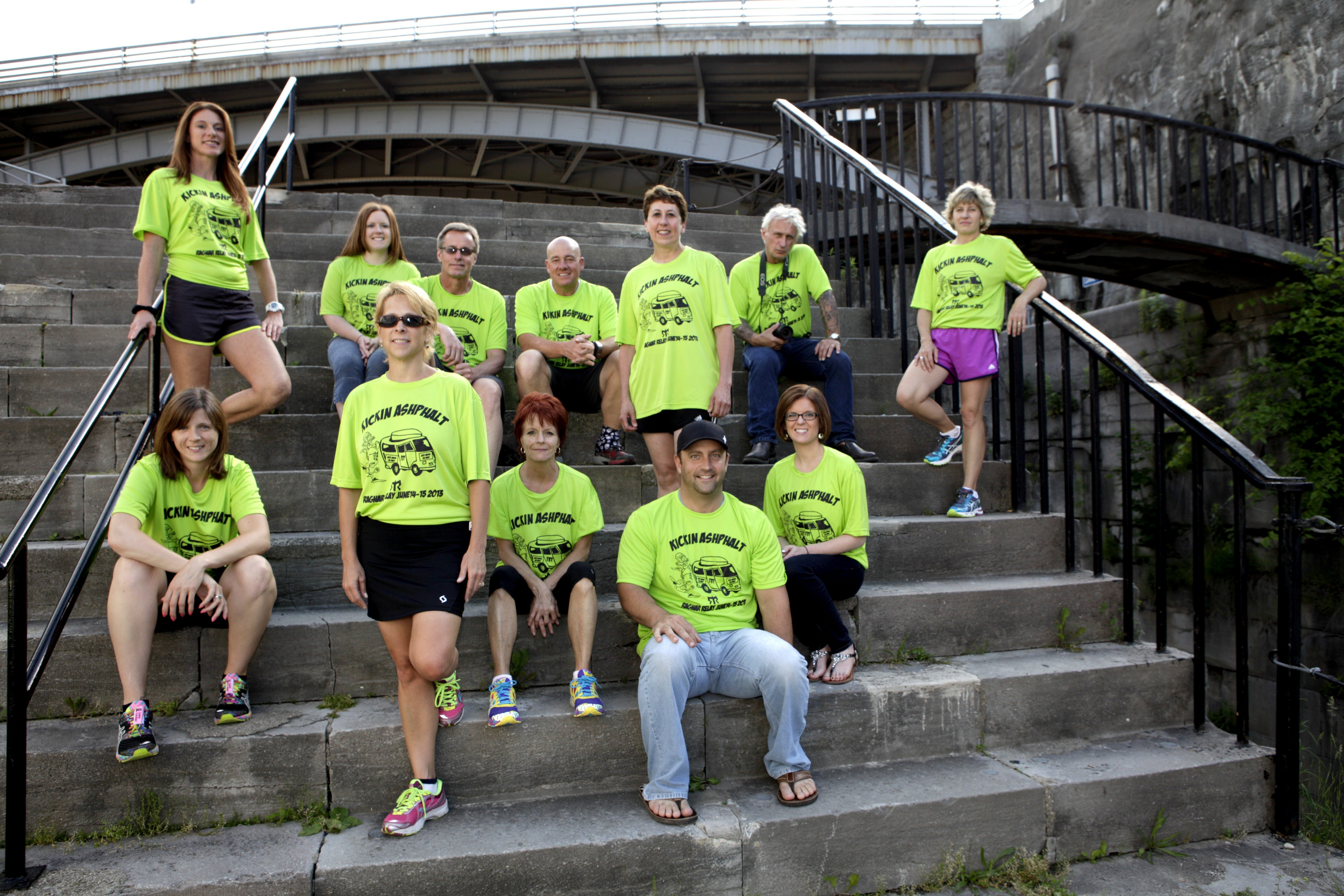 Denise Salmons, standing in front, and some of her teammates for the 193-mile Niagara Ontario Ragnar Relay, which began Friday.