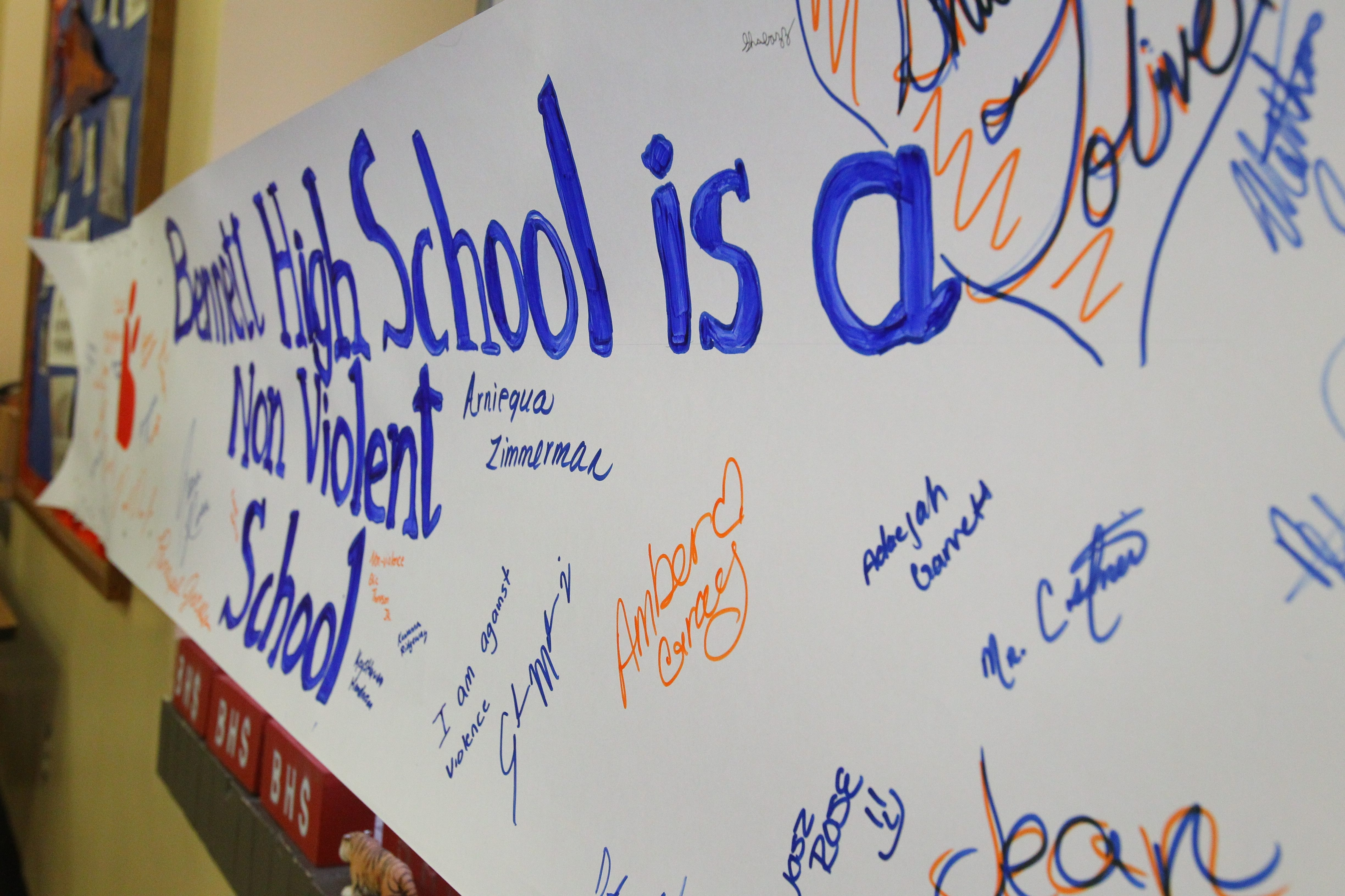 Banner signed by students at Bennett High School supports nonviolence is a response to the violent assault on a 66-year-old man in Shoshone Park by 10 Bennett students on May 16.