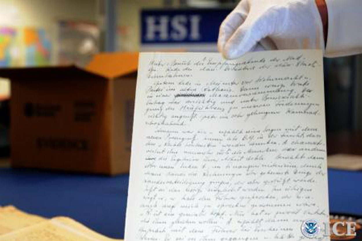 Federal officials and representatives from the U.S. Holocaust Memorial Museum in Washington show the long-lost diary kept by a close confidant of Adolph Hitler. The recovery of this historical document was the result of an extensive investigation conducted by U.S. Immigration and Customs Enforcement's Homeland Security Investigations.