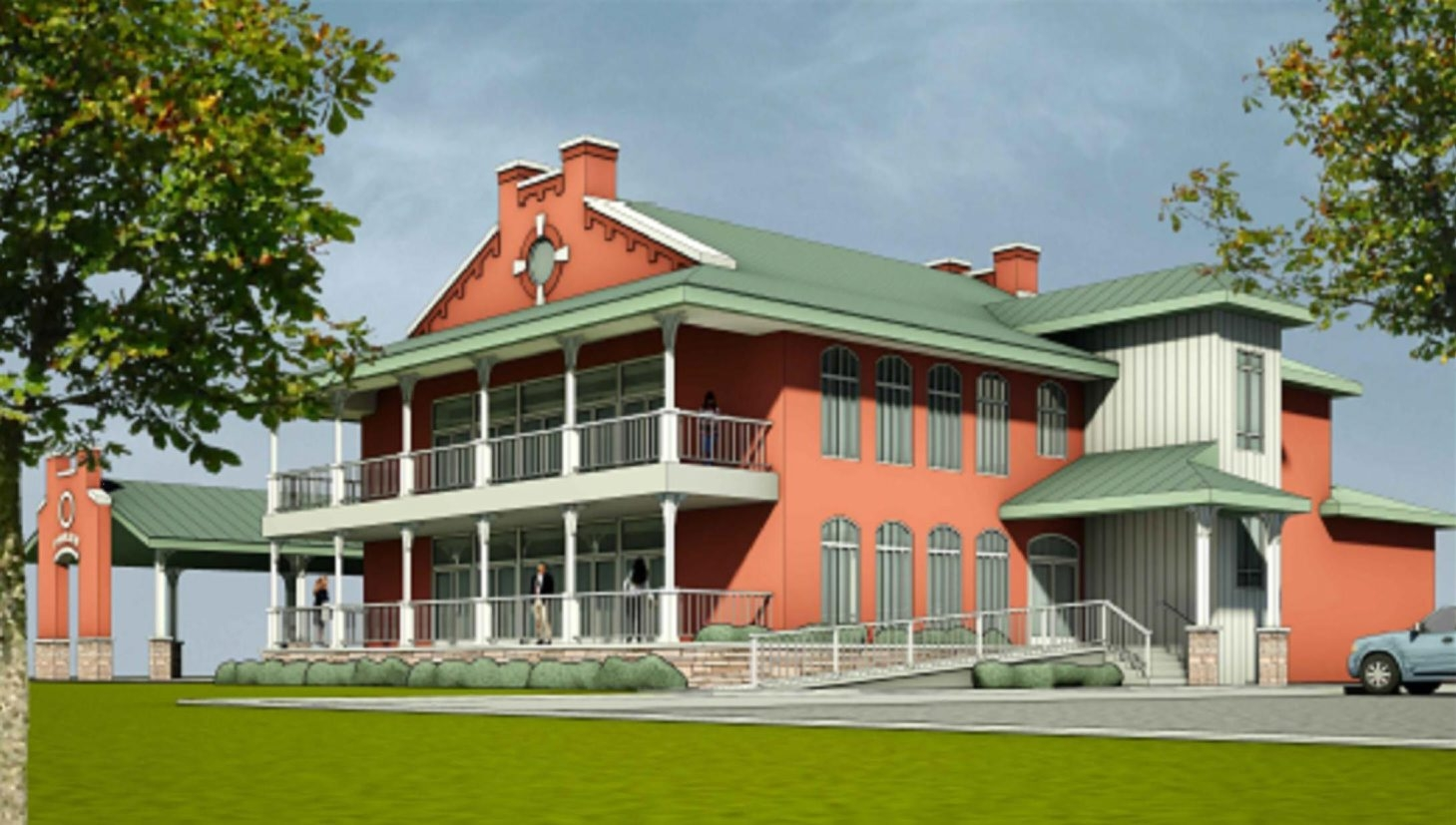 This architect's rendering shows the two-story, 7,500-square-foot lodge planned for Buffalo River Fest Park. It features large porches and a gabled roof resembling that of the old New York Central Freight House.