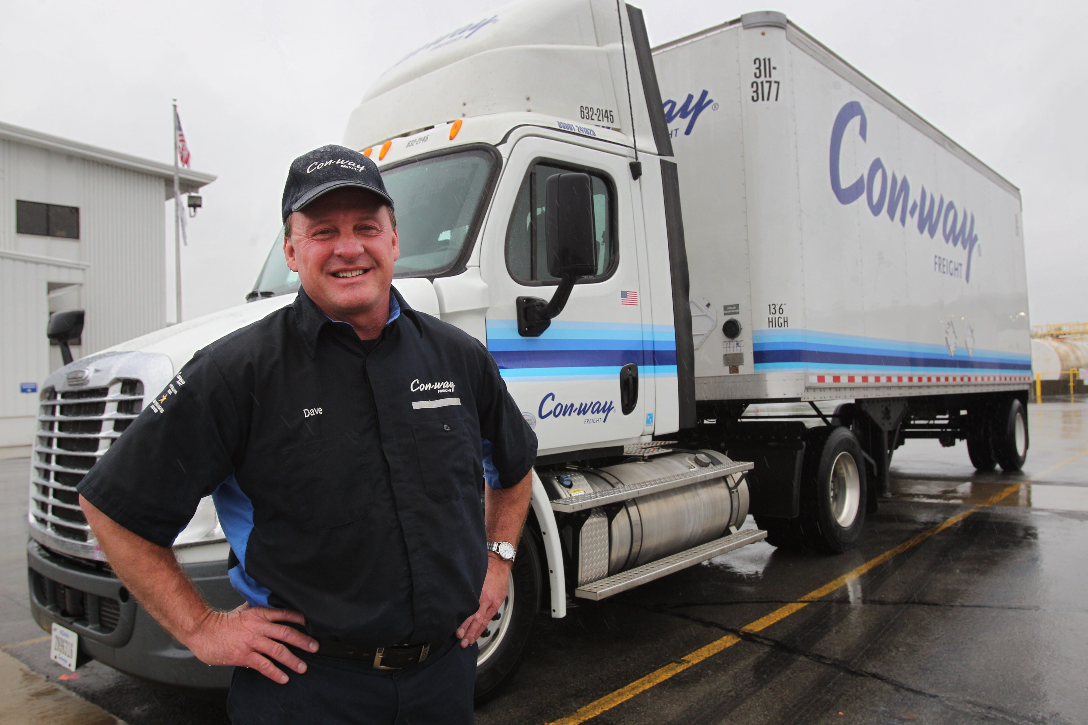 David May, above, has driven over 1 million miles without incident for Con-way Freight, besides the million he drove with another firm. Tom Lyons has logged 2 million miles.