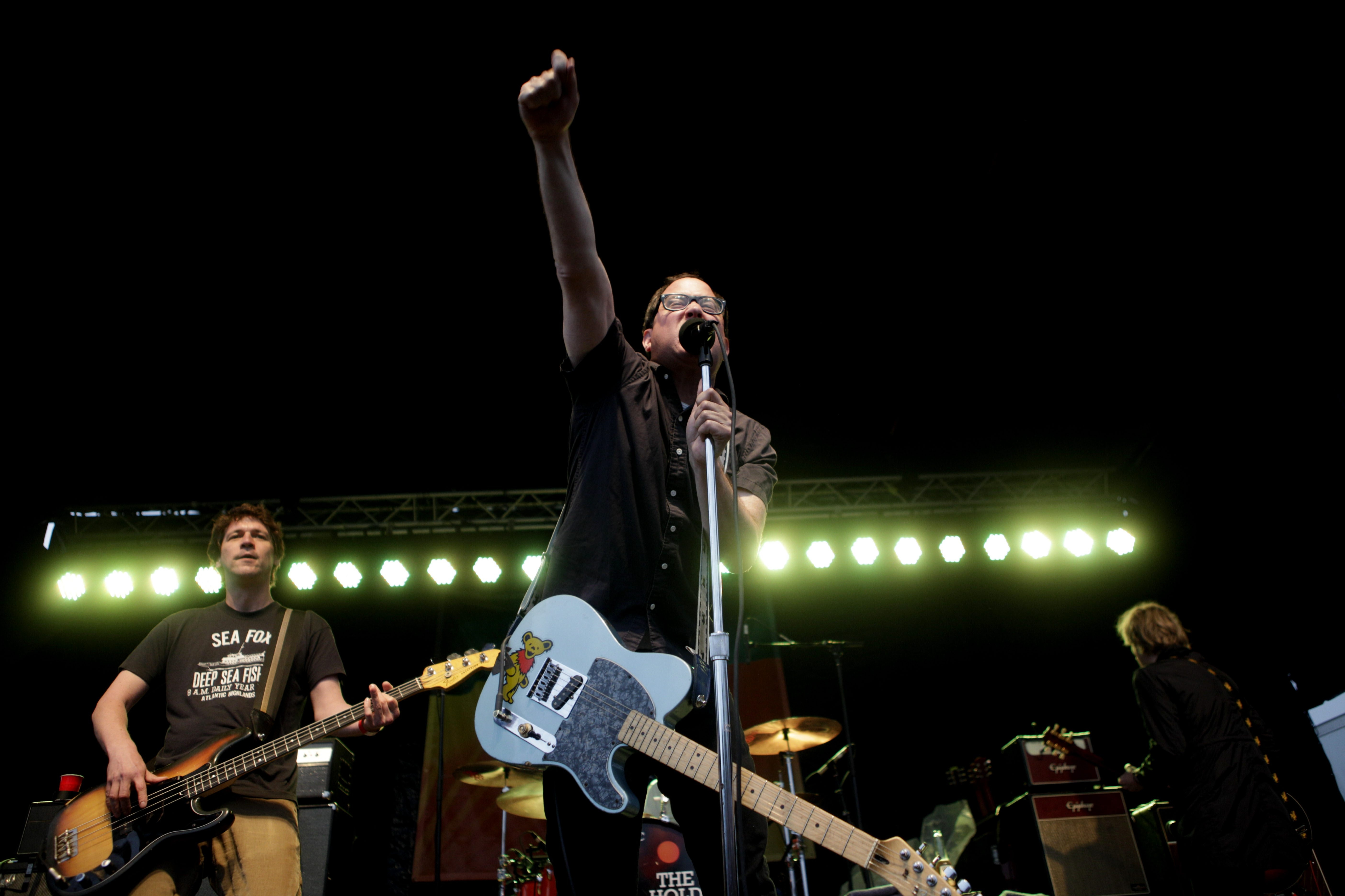 Brooklyn rockers The Hold Steady perform during the first concert of the Thursday at Canalside series. Rain and cool weather kept the crowd size down.