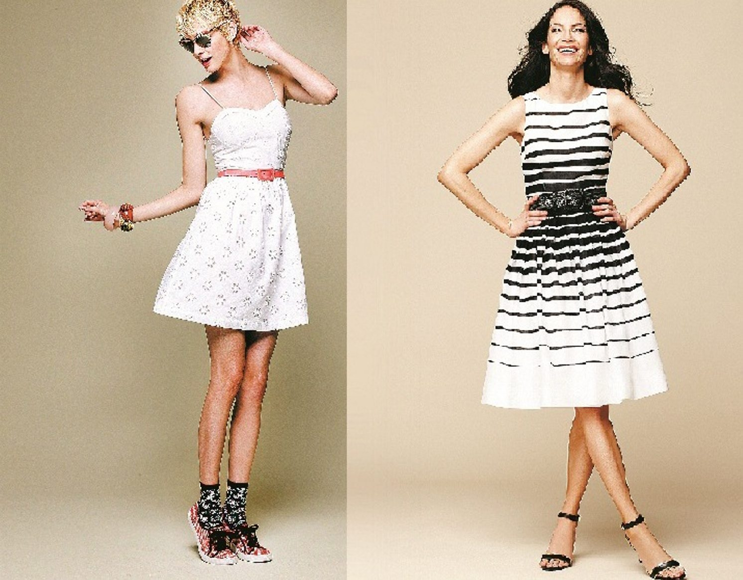 Fun summer dresses include the white eyelet dress from the Keds collection at select Macy's, left, and a striped dress from Talbots.
