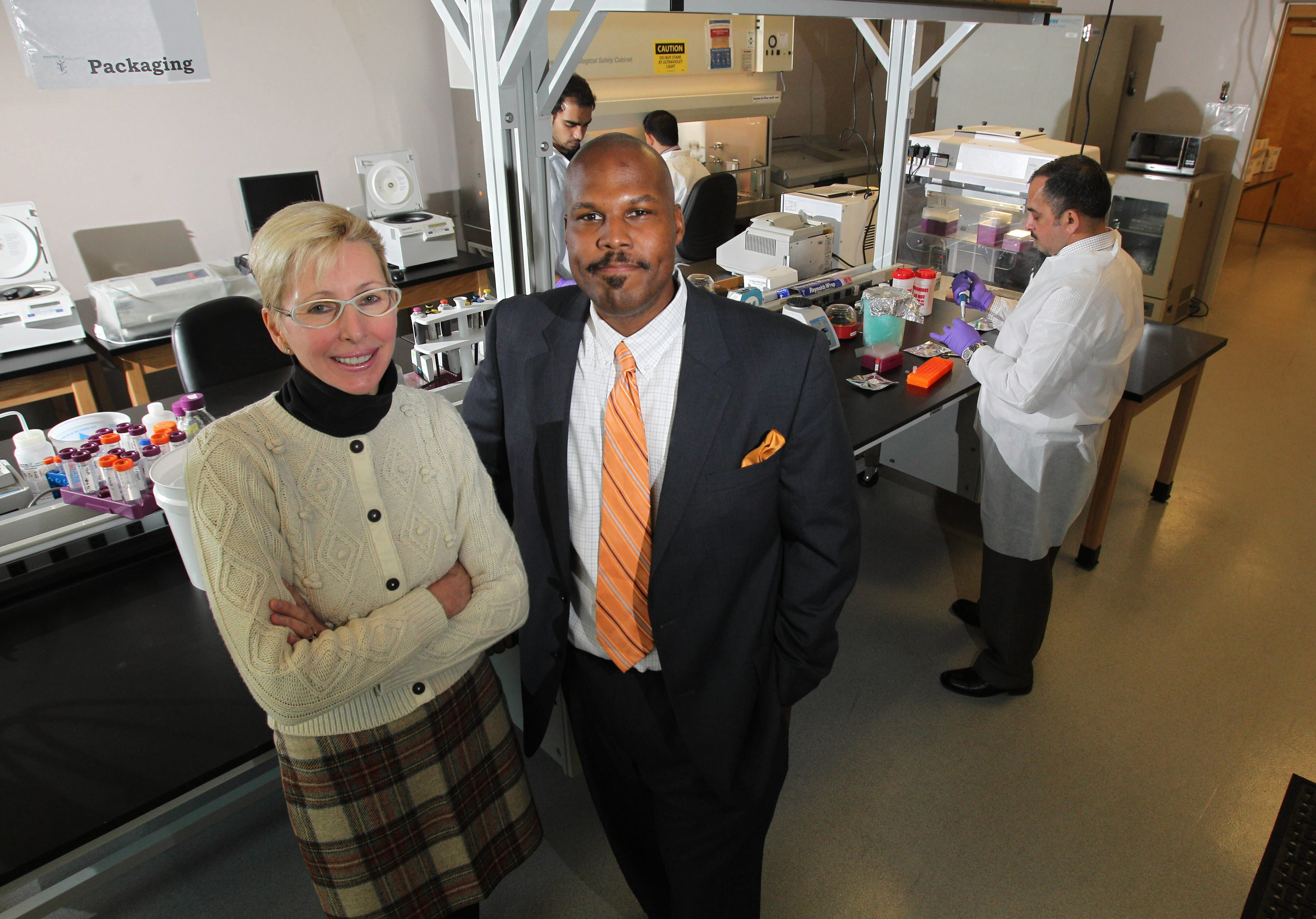 Empire Genomics CEO Anthony Johnson, shown with founder Norma J. Nowak, supports the new project.