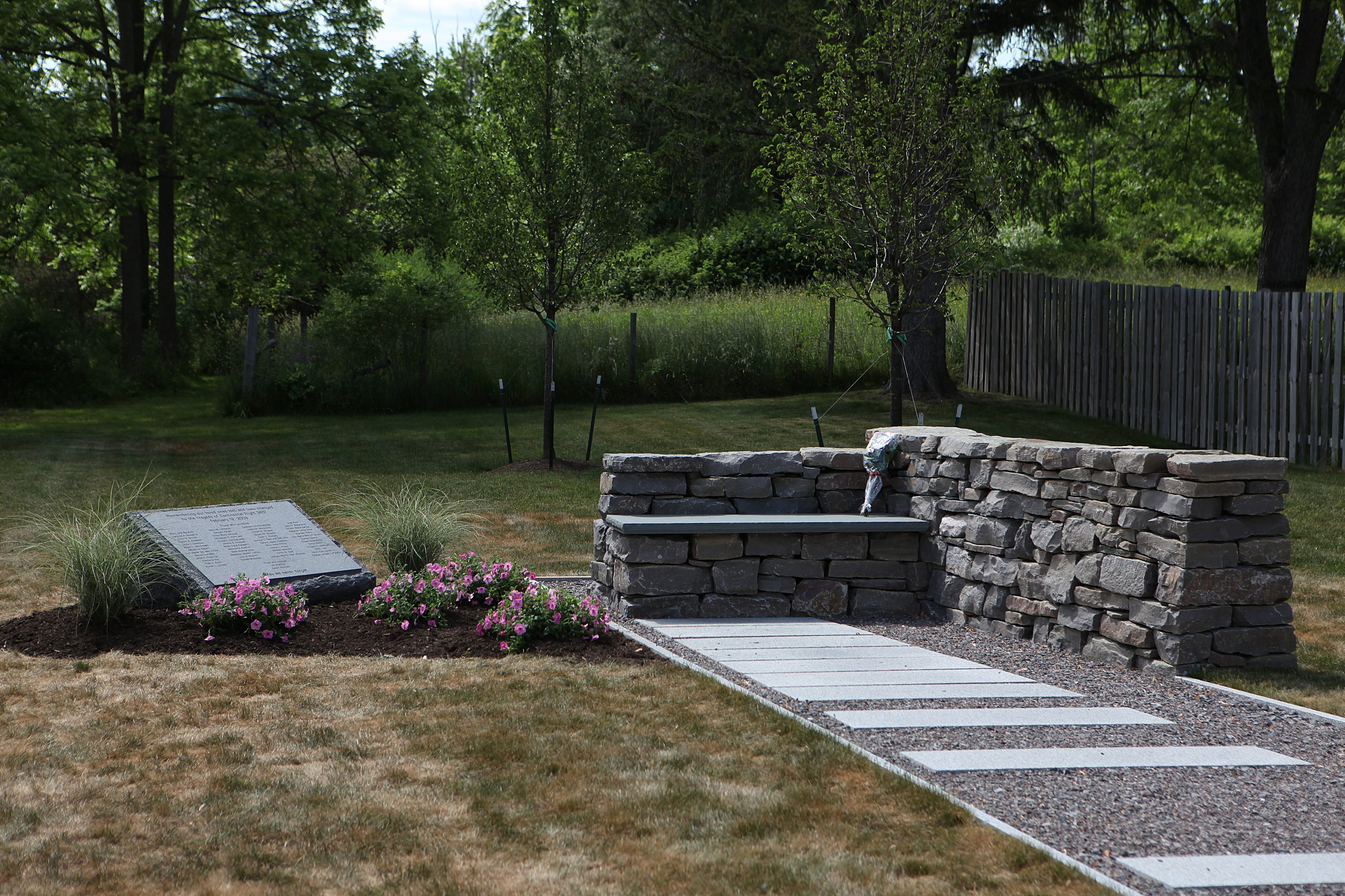 A memorial marks the spot where Flight 3407 crashed in  Clarence Center. (Buffalo News file photo)