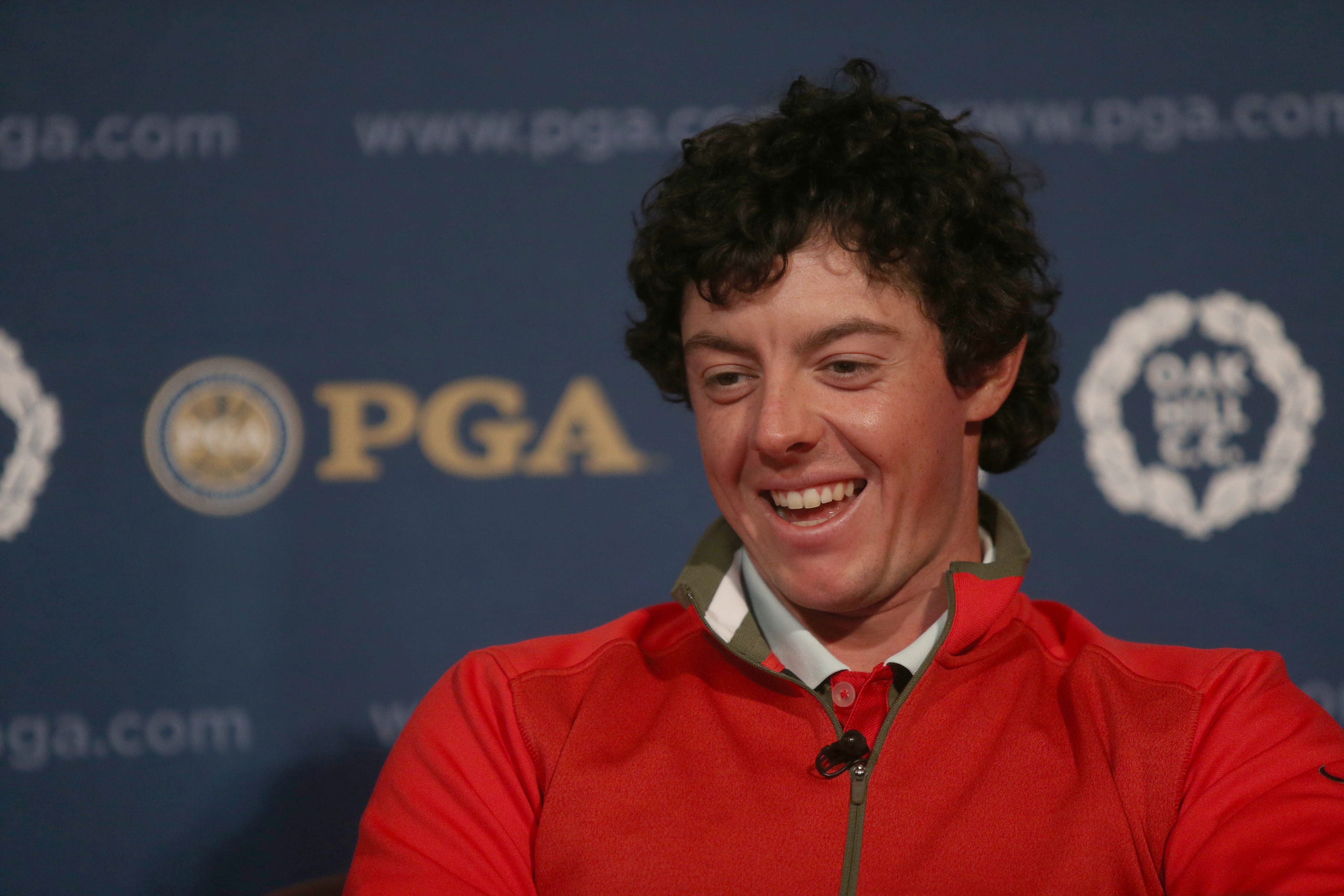 PGA defending champ Rory McIlroy was in a good mood after a practice round Monday.