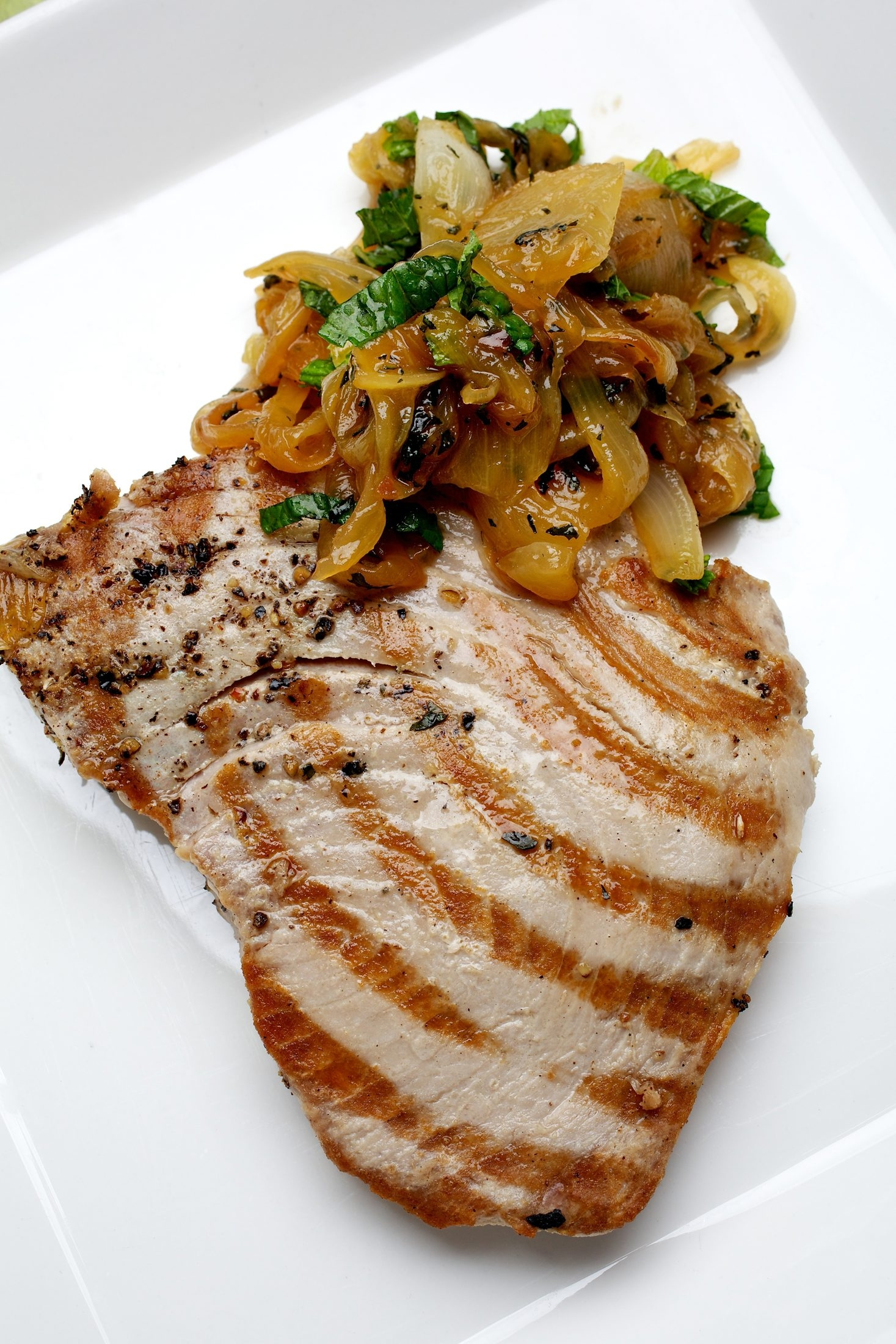 Cinnamon and mint give grilled tuna an unexpected twist.