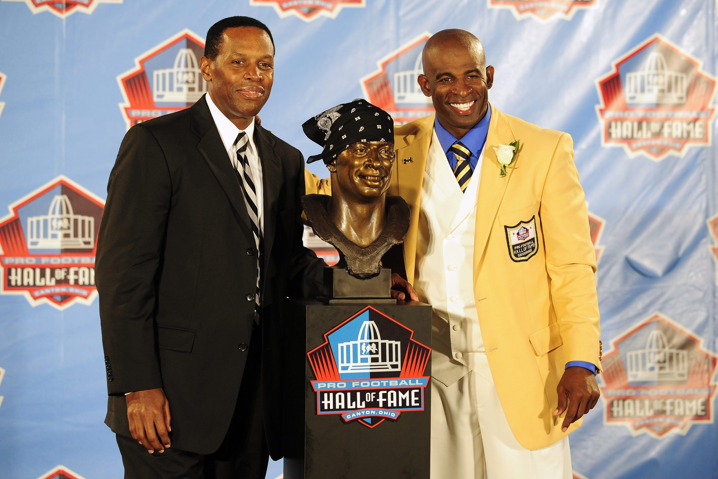 Deion Sanders, right, is among the Hall of Famers Eugene Parker represented.