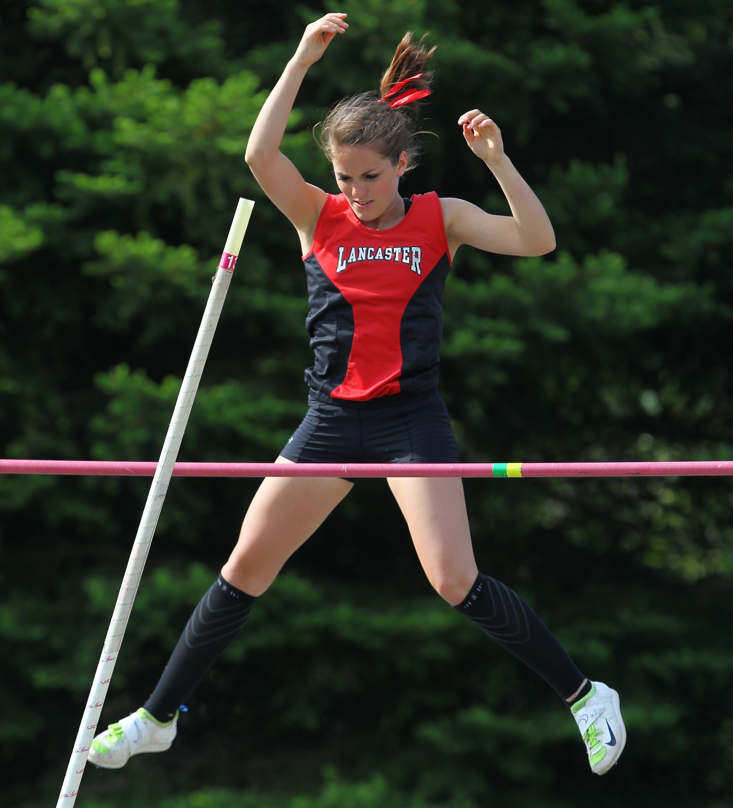 Lancaster senior Jenn Thill won the Section VI title in the Division I pole vault clearing a season-best 12 feet, 3 inches.