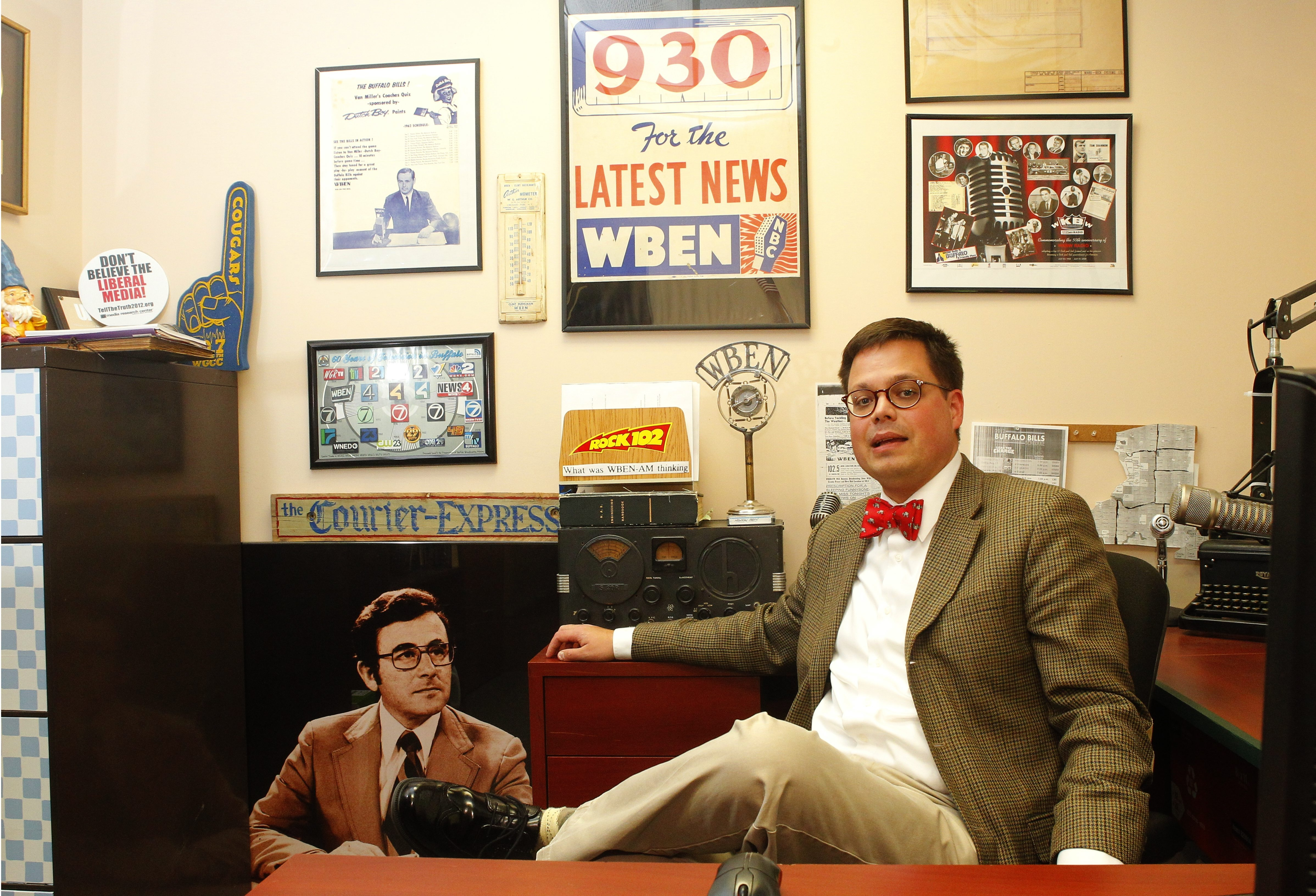 WBEN news director Steve Cichon at his office at WBEN Studio's  in Amherst, N.Y.