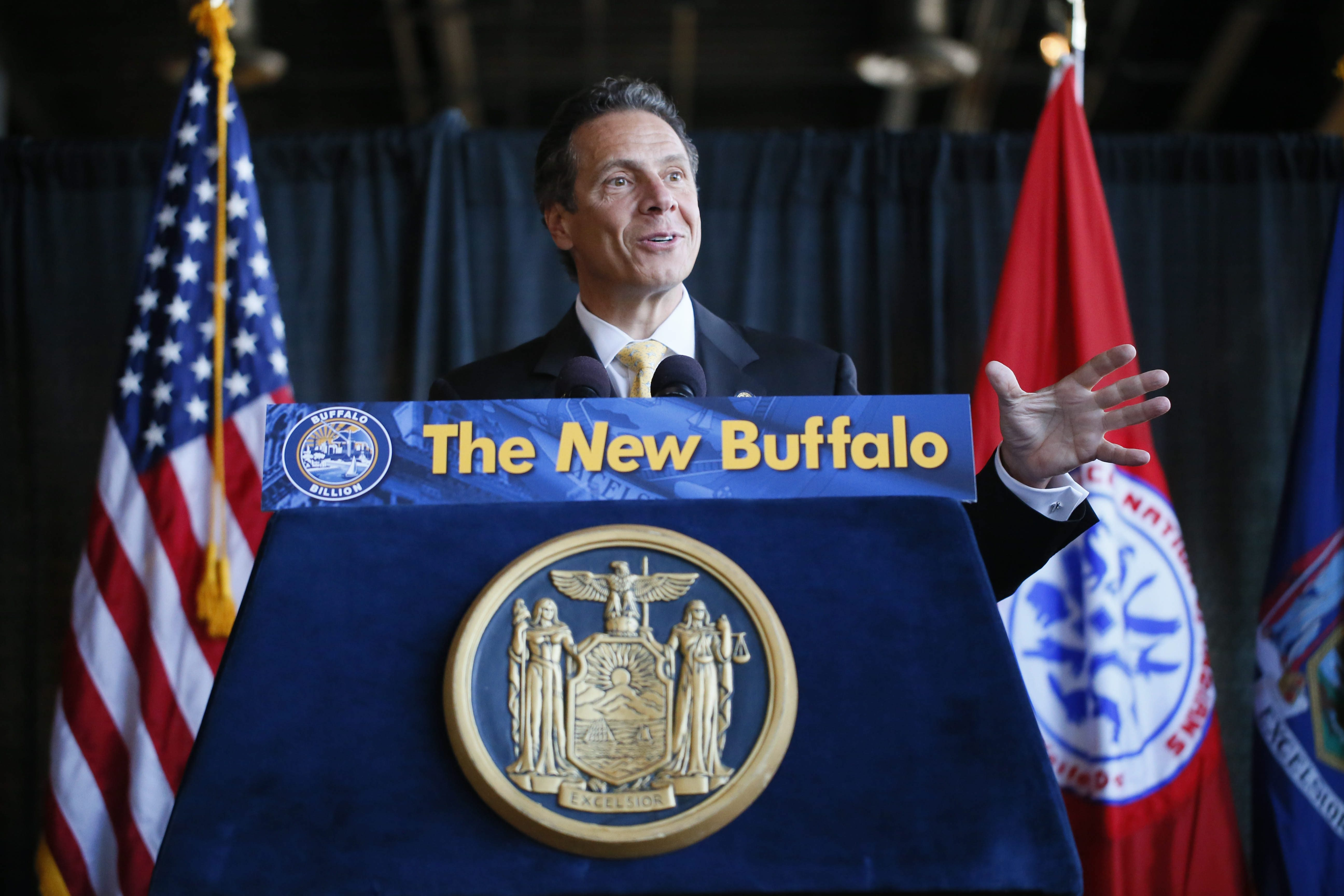 Gov. Andrew M. Cuomo speaks during an event to mark the end of a 4½-year dispute between the state and the Seneca Nation of Indians over the casino compact at First Niagara Center on Wednesday.