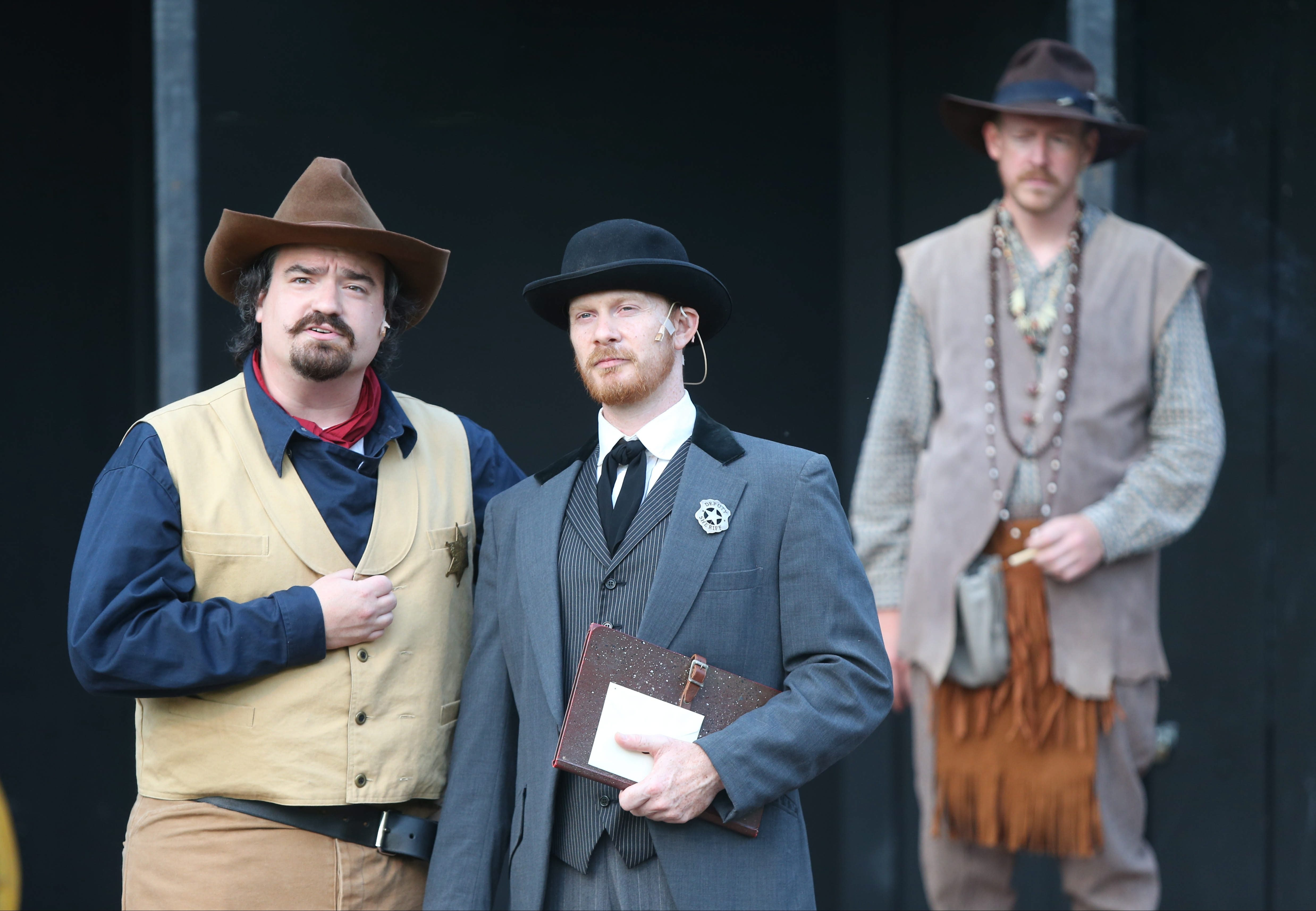 """From left, Matt Witten as Duke, Patrick Moltane as Angelo and Steve Petersen as Escalus at Shakespeare in Delaware Park's production of """"Measure For Measure."""""""
