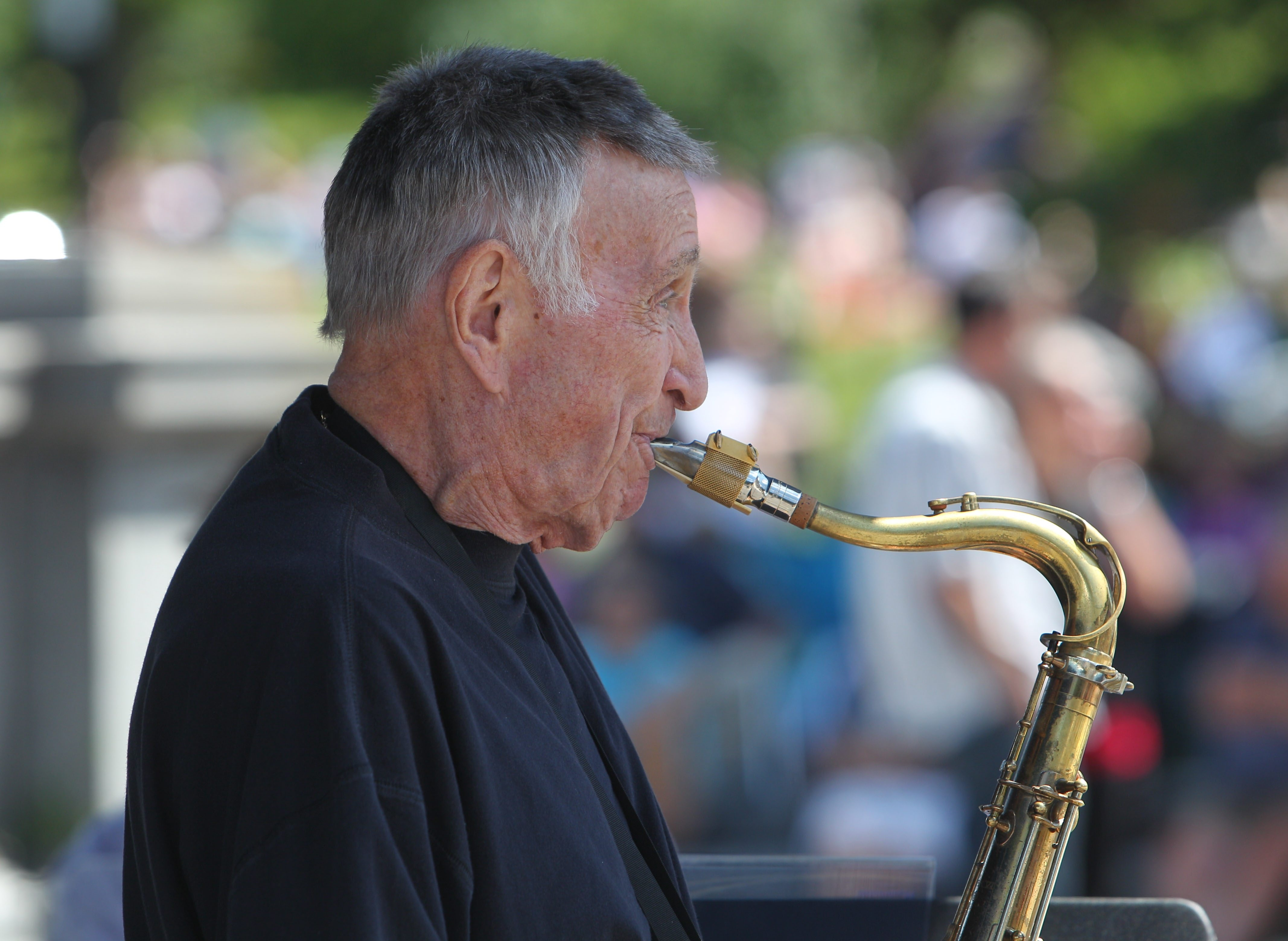 Don Rice, the saxophonist who headlined the Albright-Knox Summer Jazz Series Sunday, has performed in Buffalo every summer for years, bringing his gentle sound to the gallery.