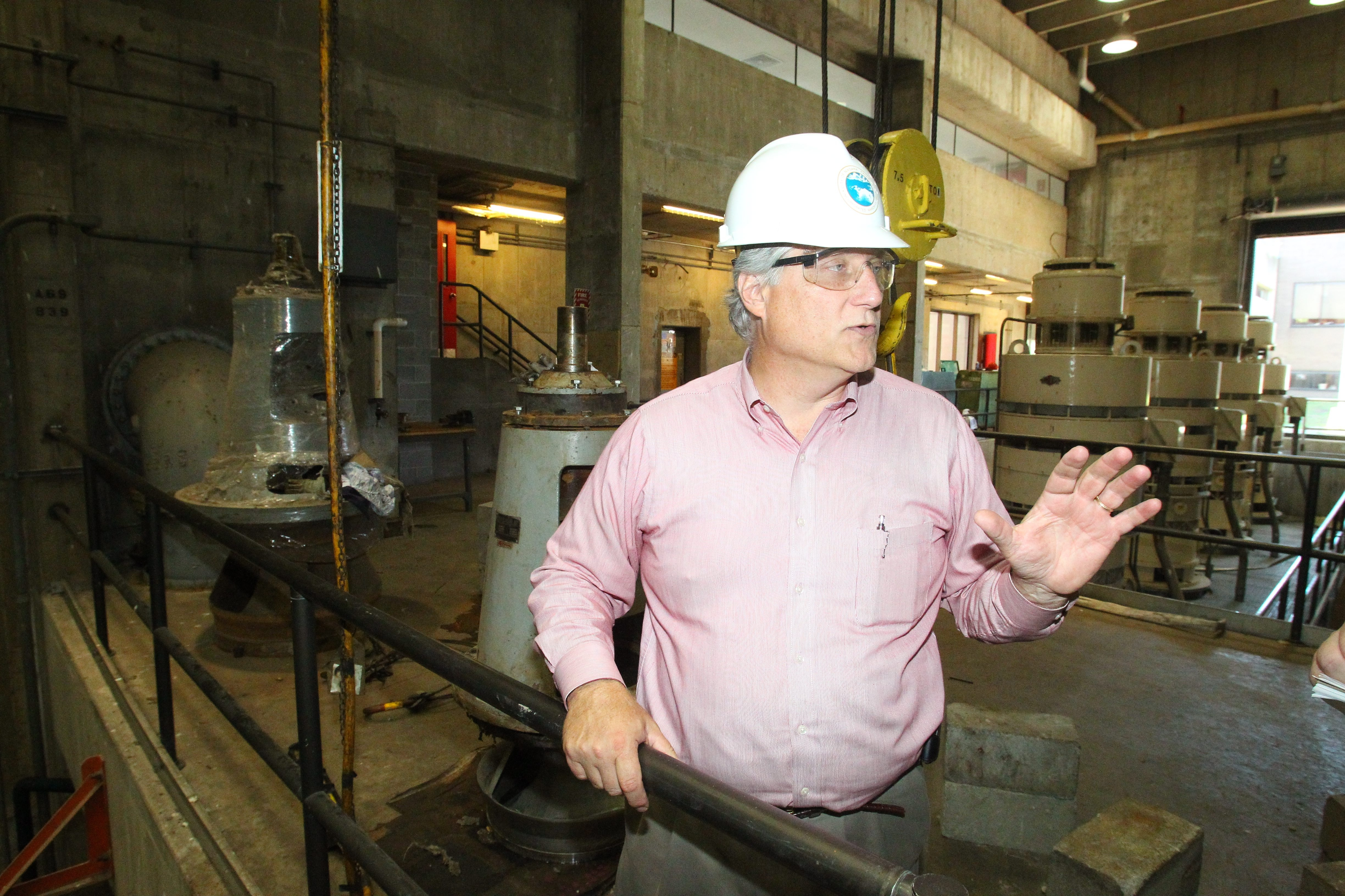 Paul Drof, executive director of the Niagara Falls Water Board,  talks about repairs to the damaged  wastewater treatment plant on a  tour  Wednesday.  See a photo  gallery and video at BuffaloNews.com.