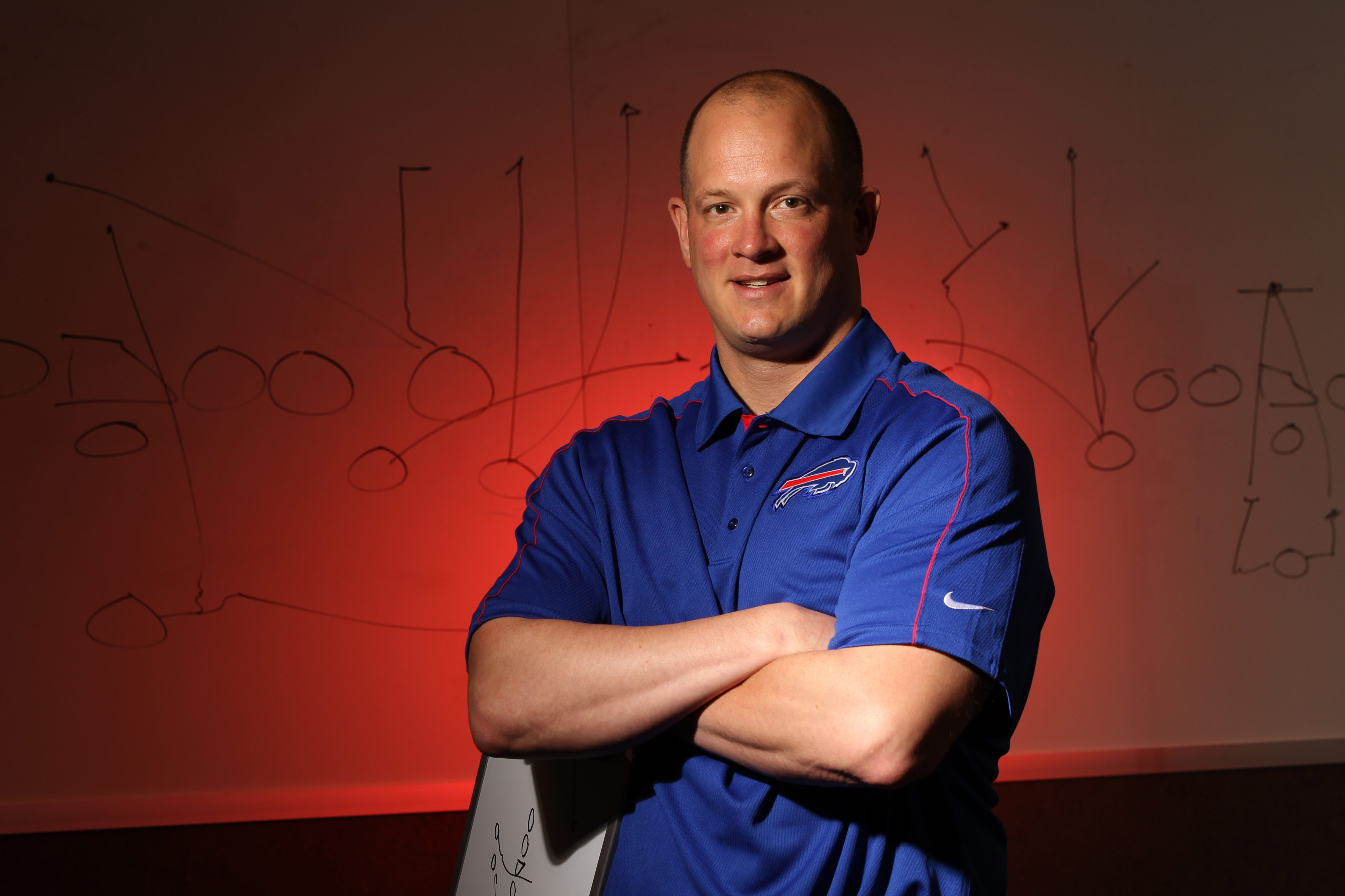 Bills offensive coordinator Nathaniel Hackett has been around the game of football and NFL legends since age 5.(James P. McCoy / Buffalo News)