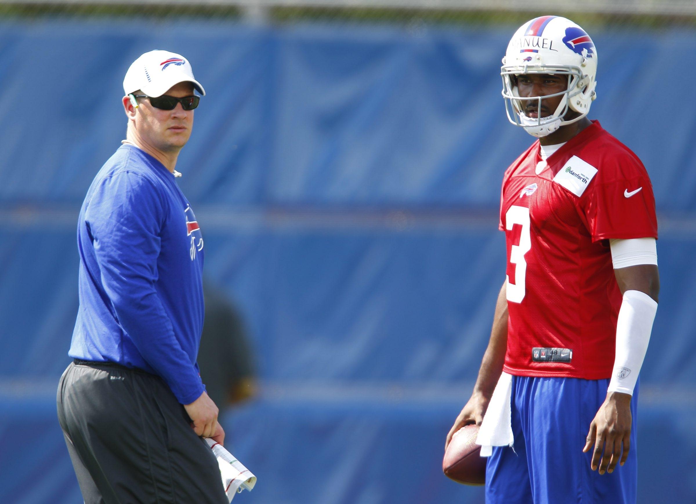 Offensive coordinator/quarterbacks coach Nathaniel Hackett and quarterback, EJ Manuel give the Bills a new look.