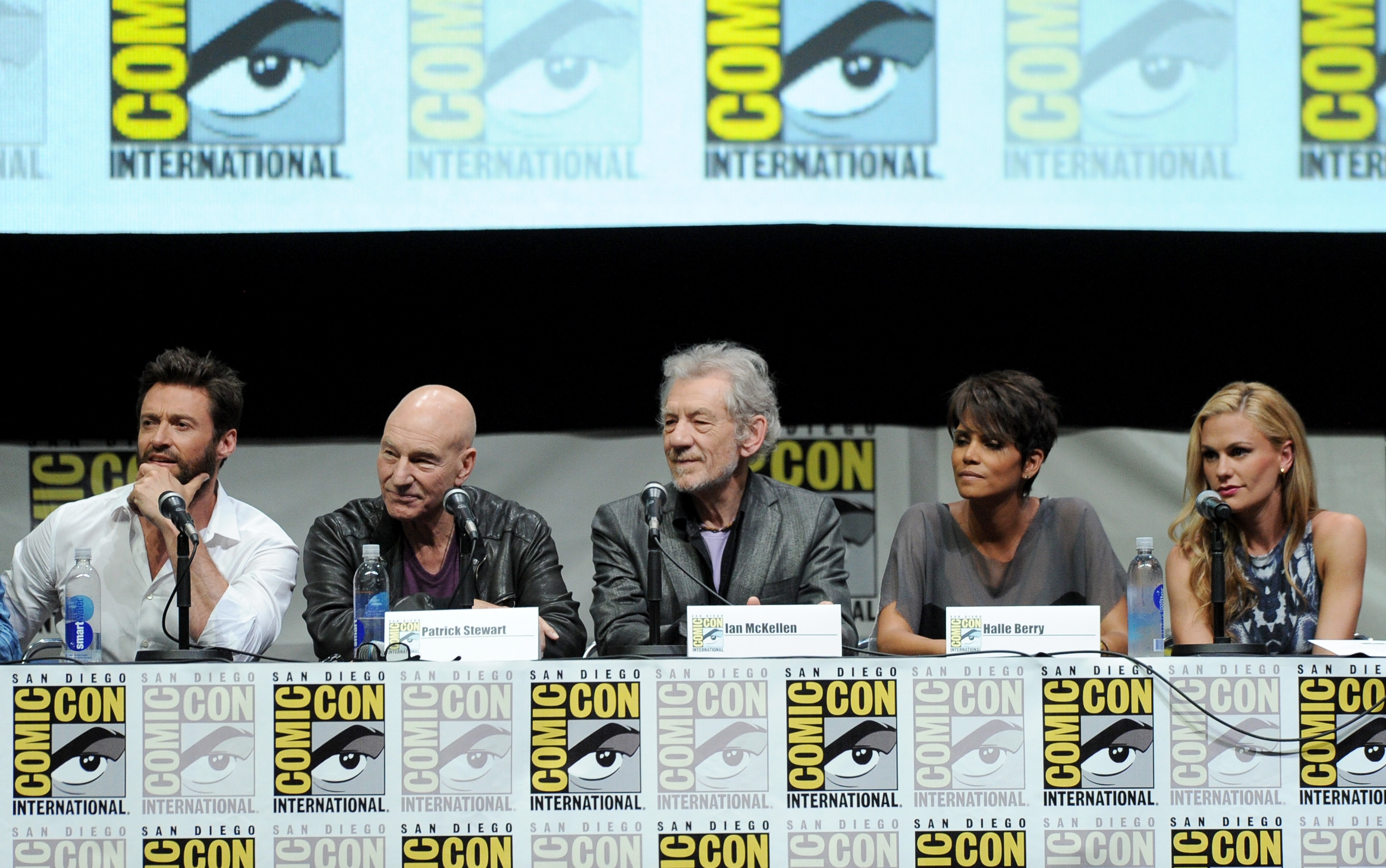 "From left, actors Hugh Jackman, Patrick Stewart and Ian McKellen listen to a question during a panel featuring the entire cast of ""X-Men"" on Saturday at Comic-Con."