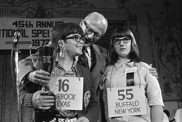 At right, Lauren Matz at the AARP National Spelling Bee. Above right, Lauren, then 13, is photographed after the 1972 National Spelling Bee.