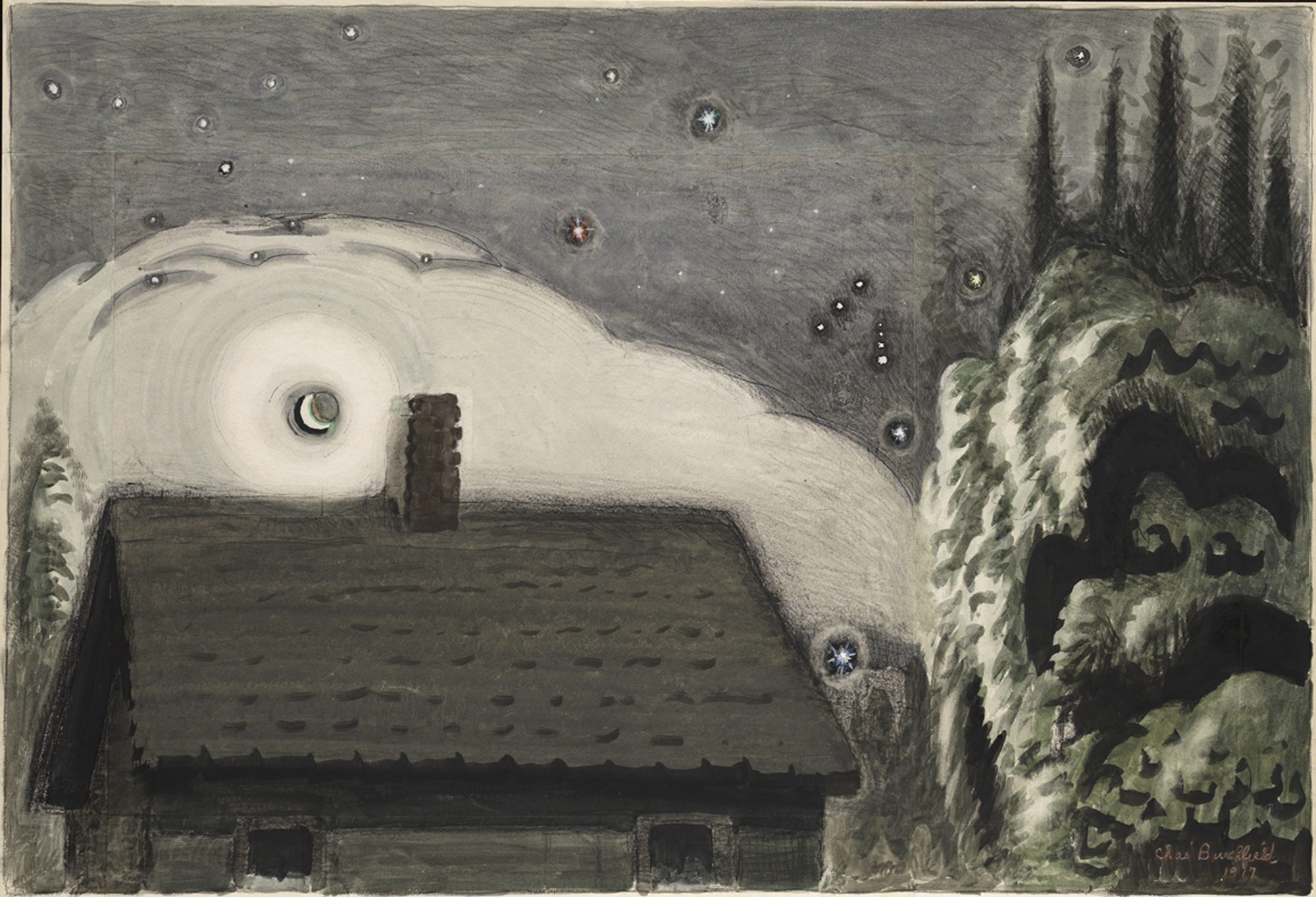 """Orion and the Moon,"" a 1917 painting by Charles Burchfield, kicks off the exhibition ""Oh My Heavens"" in the Burchfield Penney Art Center."