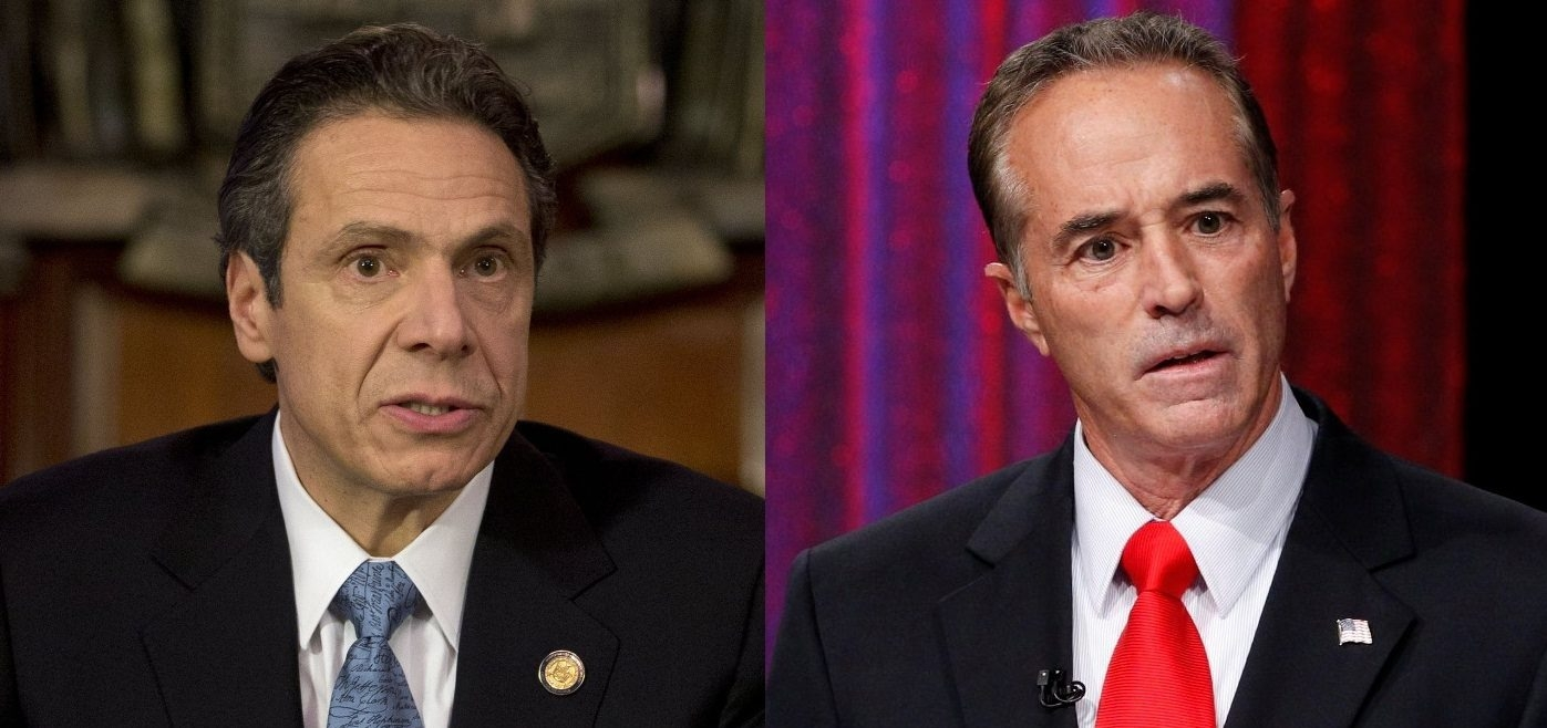 Gov. Andrew M. Cuomo, left, and Rep. Chris Collins differ on the state's projections that premiums for individually purchased health plans will drop by 53 percent under the state's new health insurance exchange.