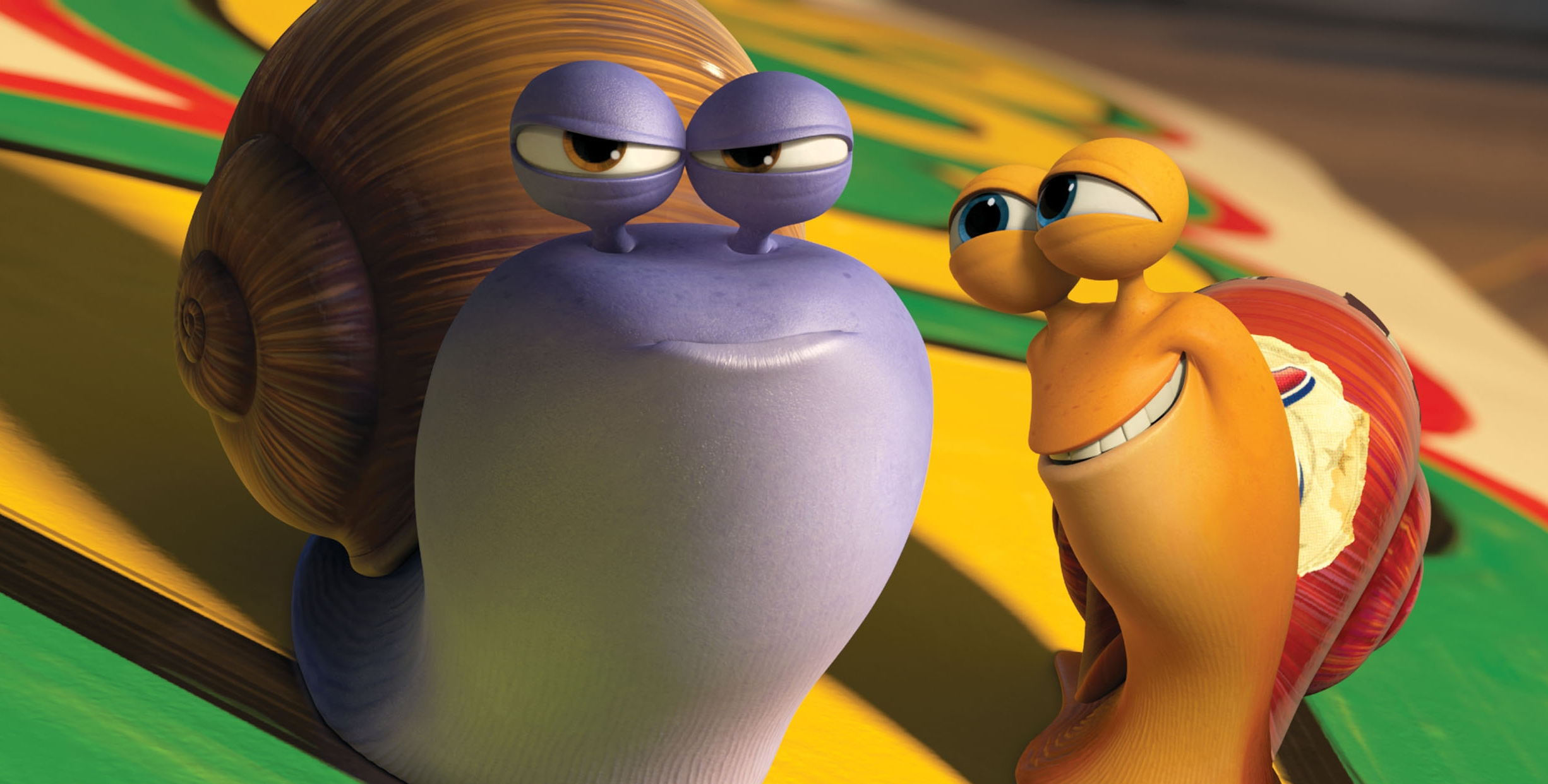 """Chet, voiced by Paul Giamatti, left, and Turbo, voiced by Ryan Reynolds in a scene from the animated movie """"Turbo."""""""