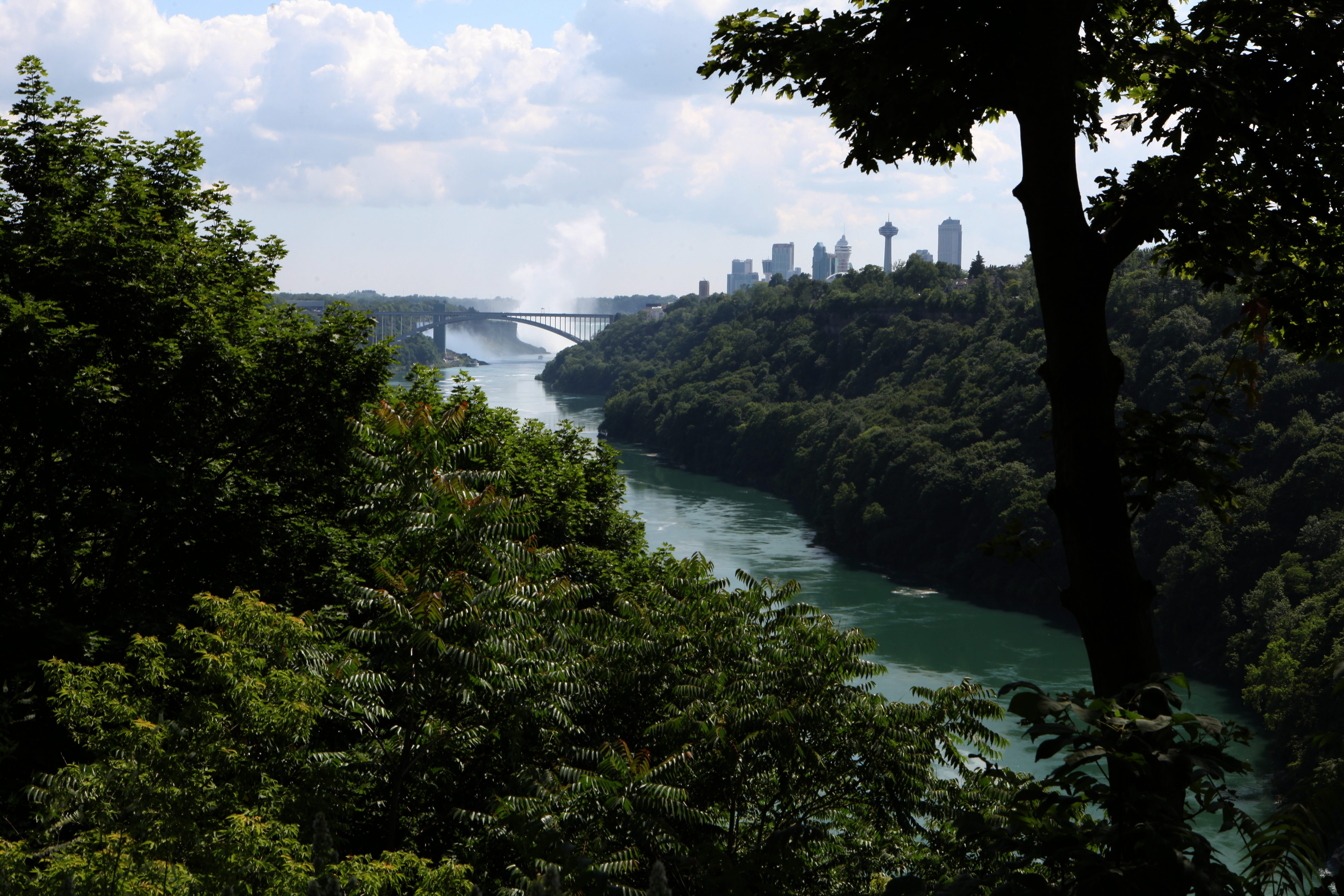 Place One: The view from the parking lot next to the Whirlpool Bridge on Whirlpool St. in Niagara Falls.