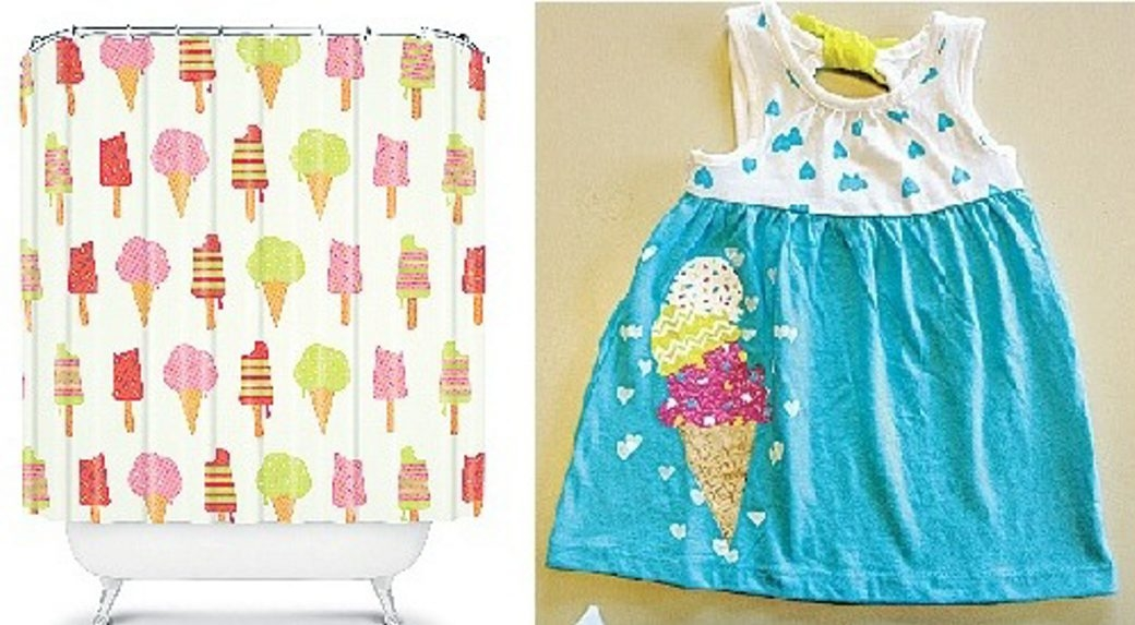 Ice cream-themed items include this shower curtain from Nicole Martinez and a cotton sundress from Target.
