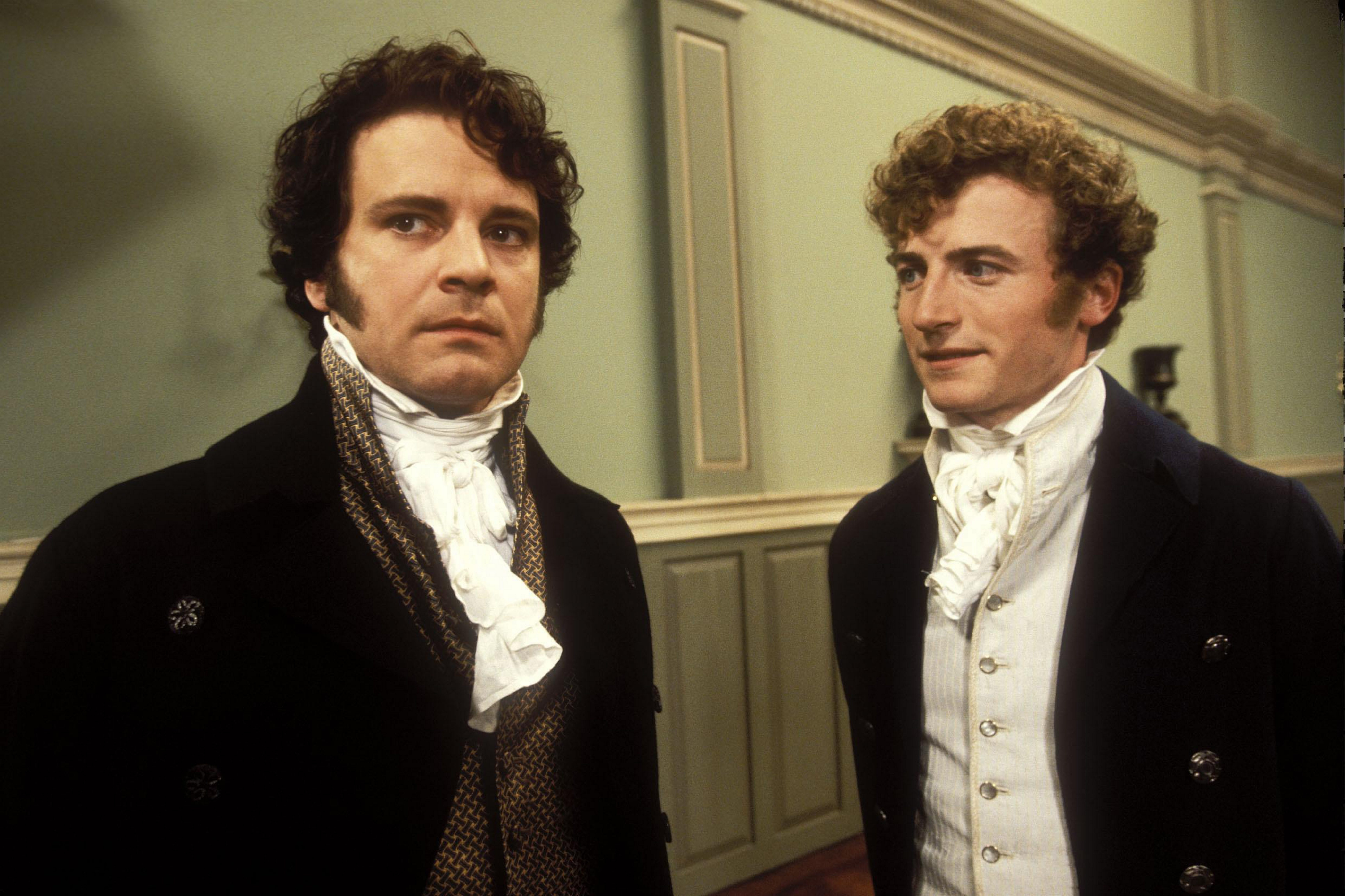 """Colin Firth, left, was Mr. Darcy and Crispin Bonham Carter played his friend Bingley in the BBC production of """"Pride and Prejudice."""""""