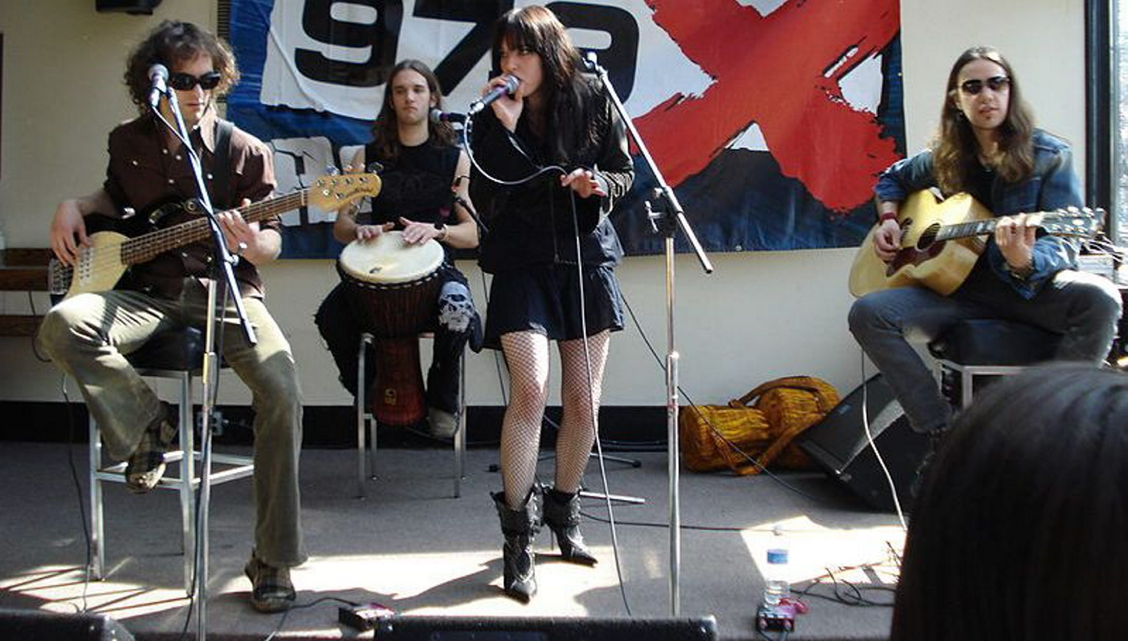 This file photo shows members of Halestorm during a performance.