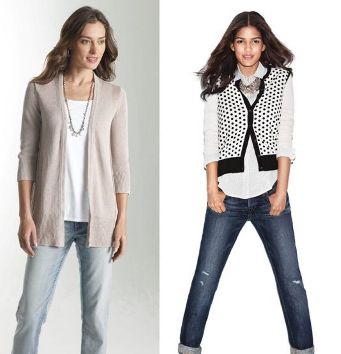 The layered look eases the transition to fall. Outfit, left, is from J. Jill; dot cardigan, right, is from LOFT.