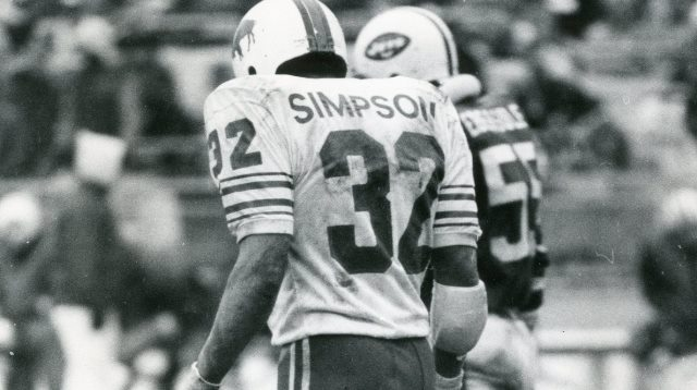 Among Bills' best trades was 1978 trade of O.J. Simpson (shown in  1977 photo) to the 49ers for five draft choices, one of which was used for Joe Cribbs, who went on to become the Bills' third all-time leading rusher. (News file photo)