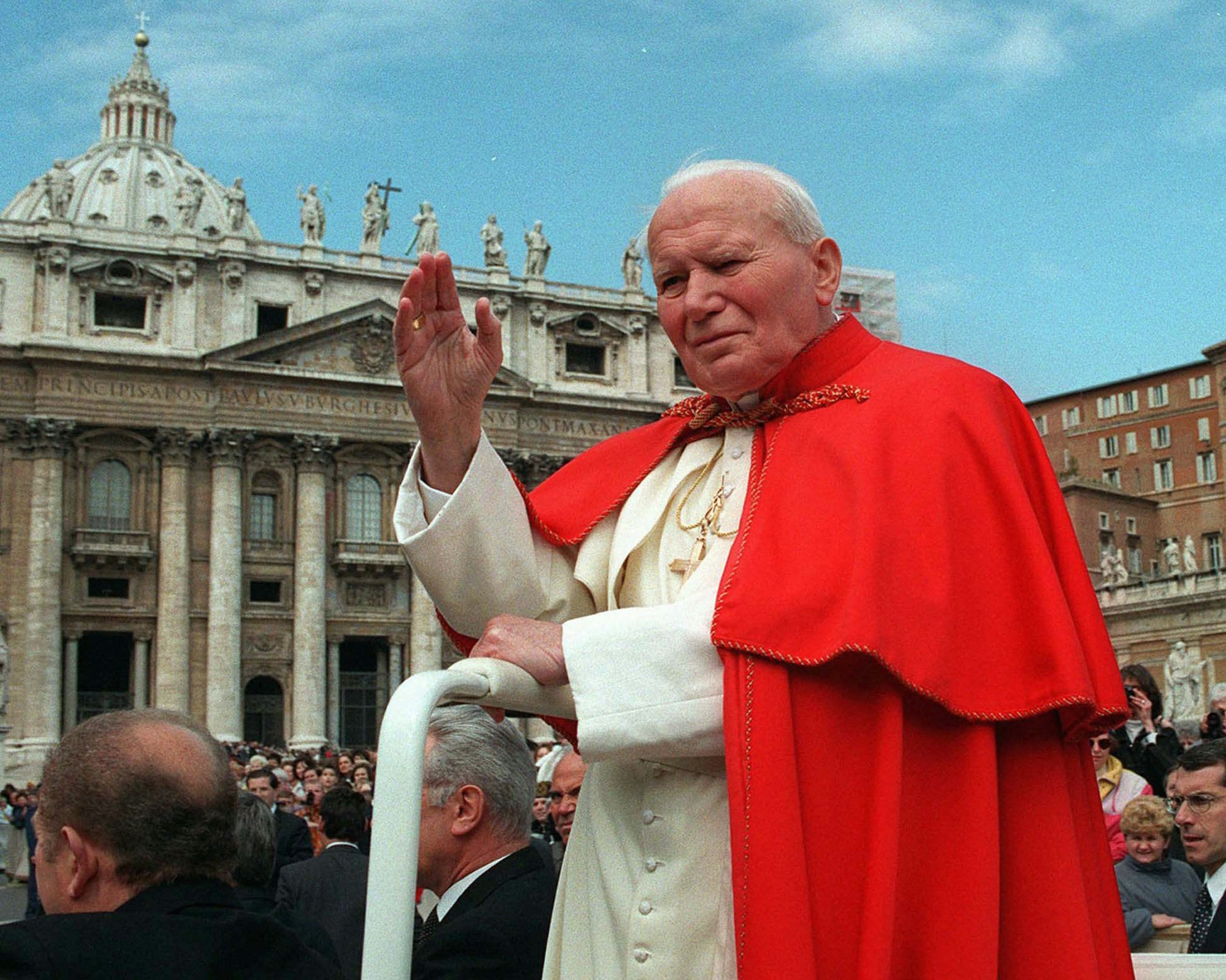 Pope John Paul II, shown here in 1997, and Pope John XXIII will be canonized in April.