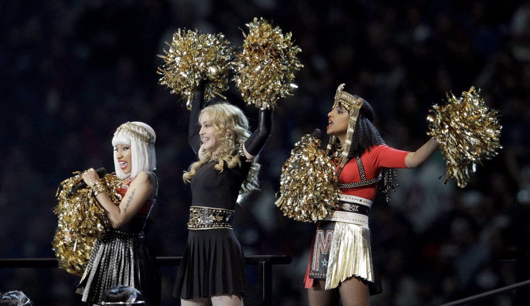 Madonna, center, performs with Nicki Minaj, left, and M.I.A. during halftime of the NFL Super Bowl XLVI football game between Feb. 5, 2012, in Indianapolis.