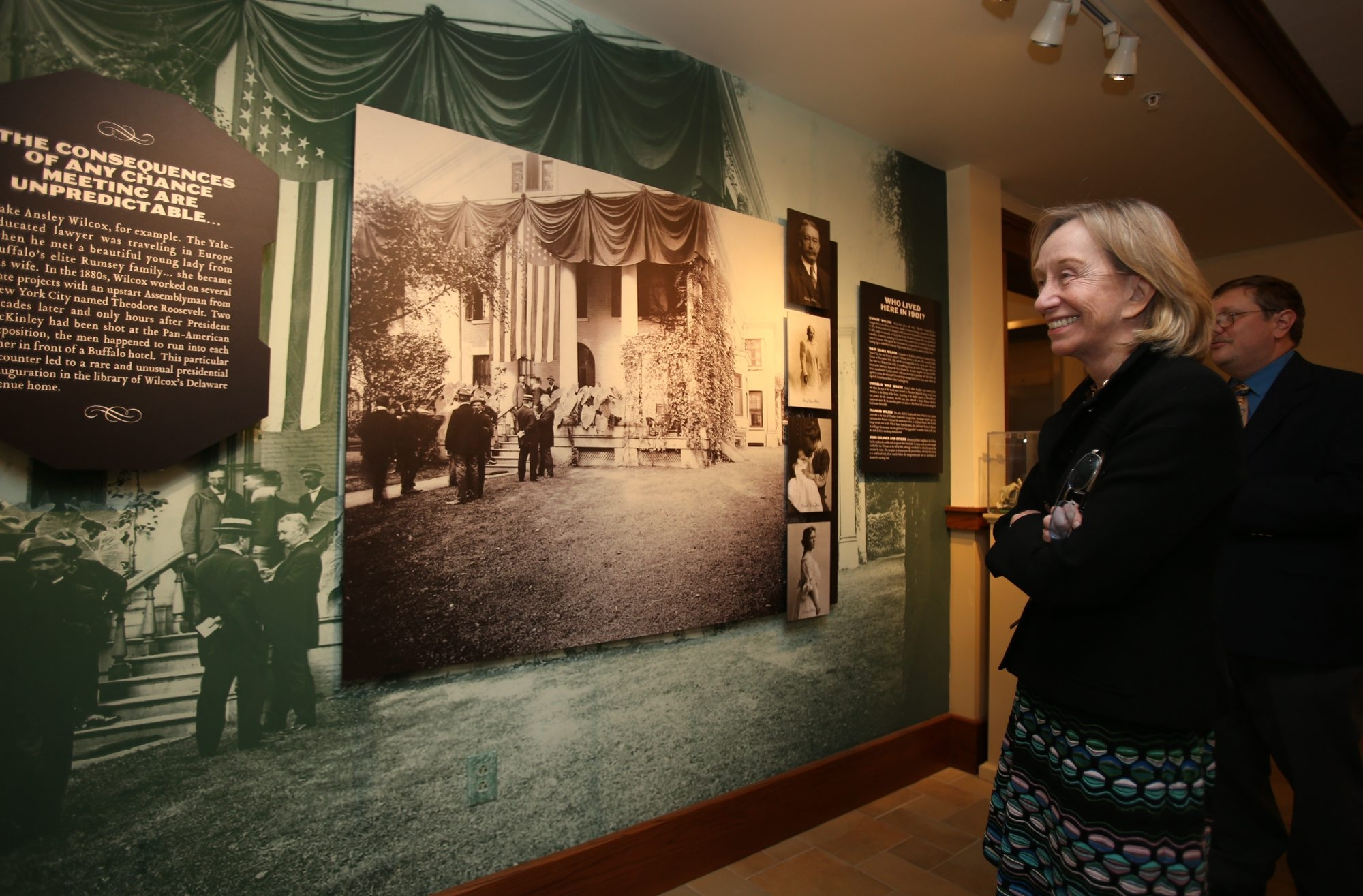 Mark Lozo, education director for the Theodore Roosevelt Inaugural National Historic Site, gives historian and author Doris Kearns Goodwin a personal tour.
