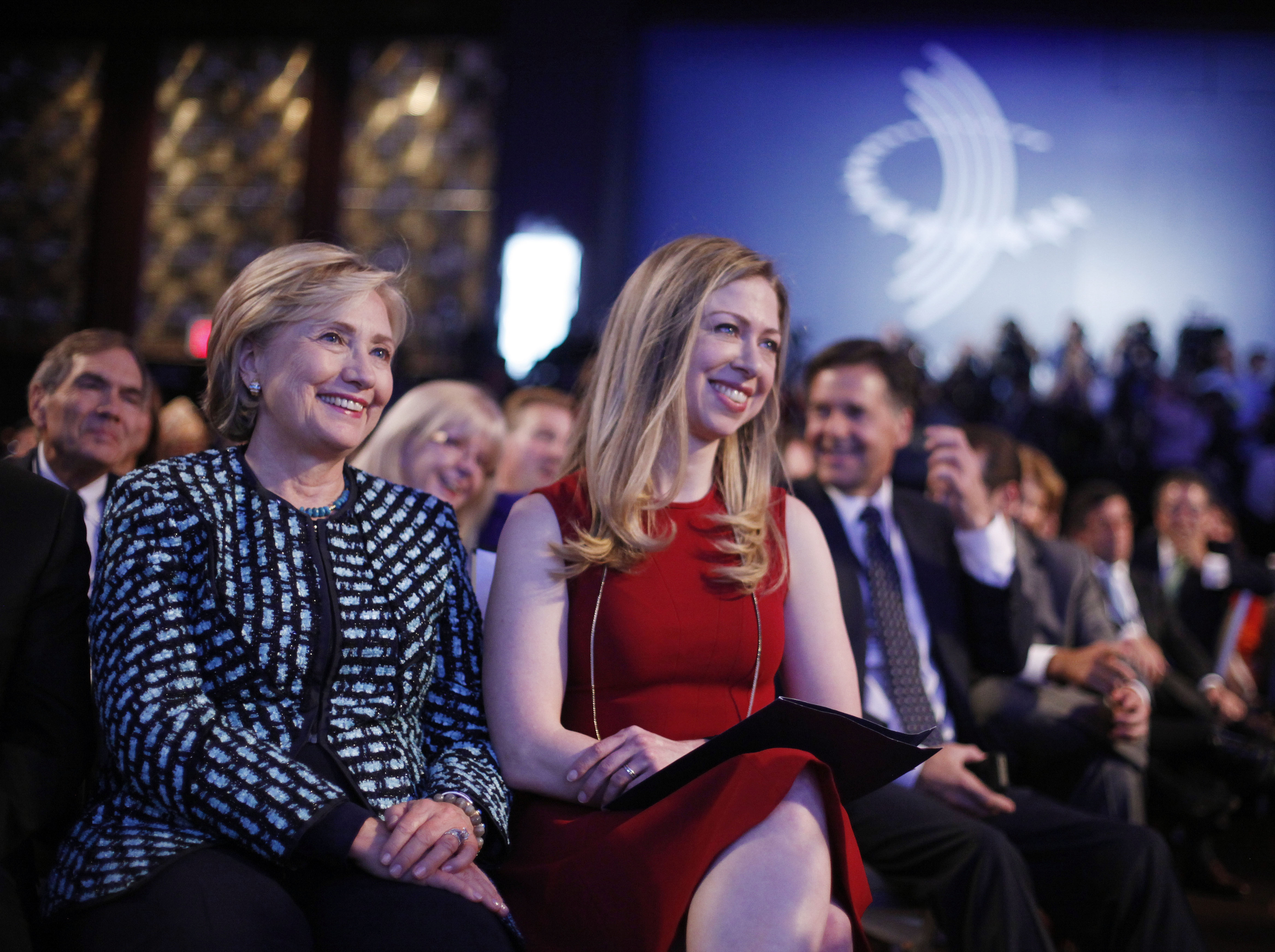 With philanthropy, the Affordable Care Act and the 2016 political picture all part of the mix, former Secretary of State Hillary Rodham Clinton and daughter Chelsea listen to President Obama and former President Bill Clinton last week during meeting of Clinton Global Initiative in New York City.