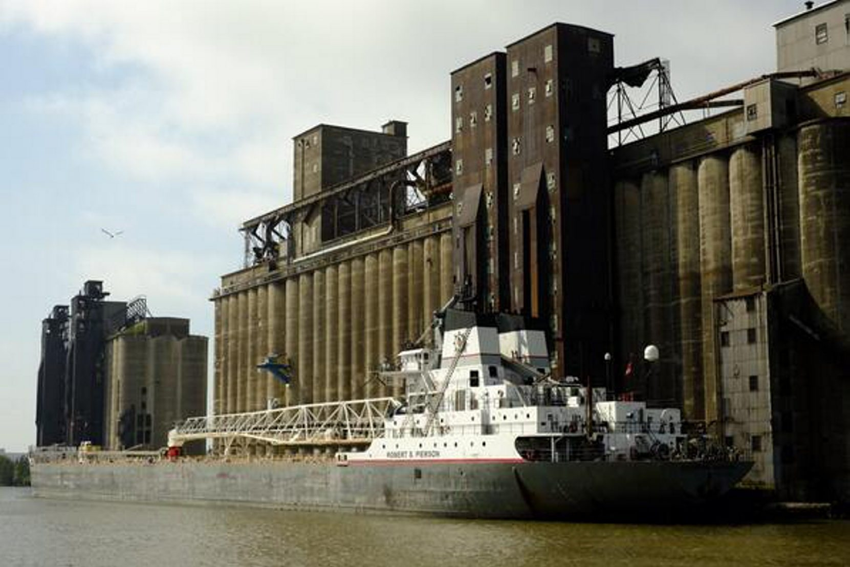 The freighter Robert S. Pierson was able to deliver its load of grain today.