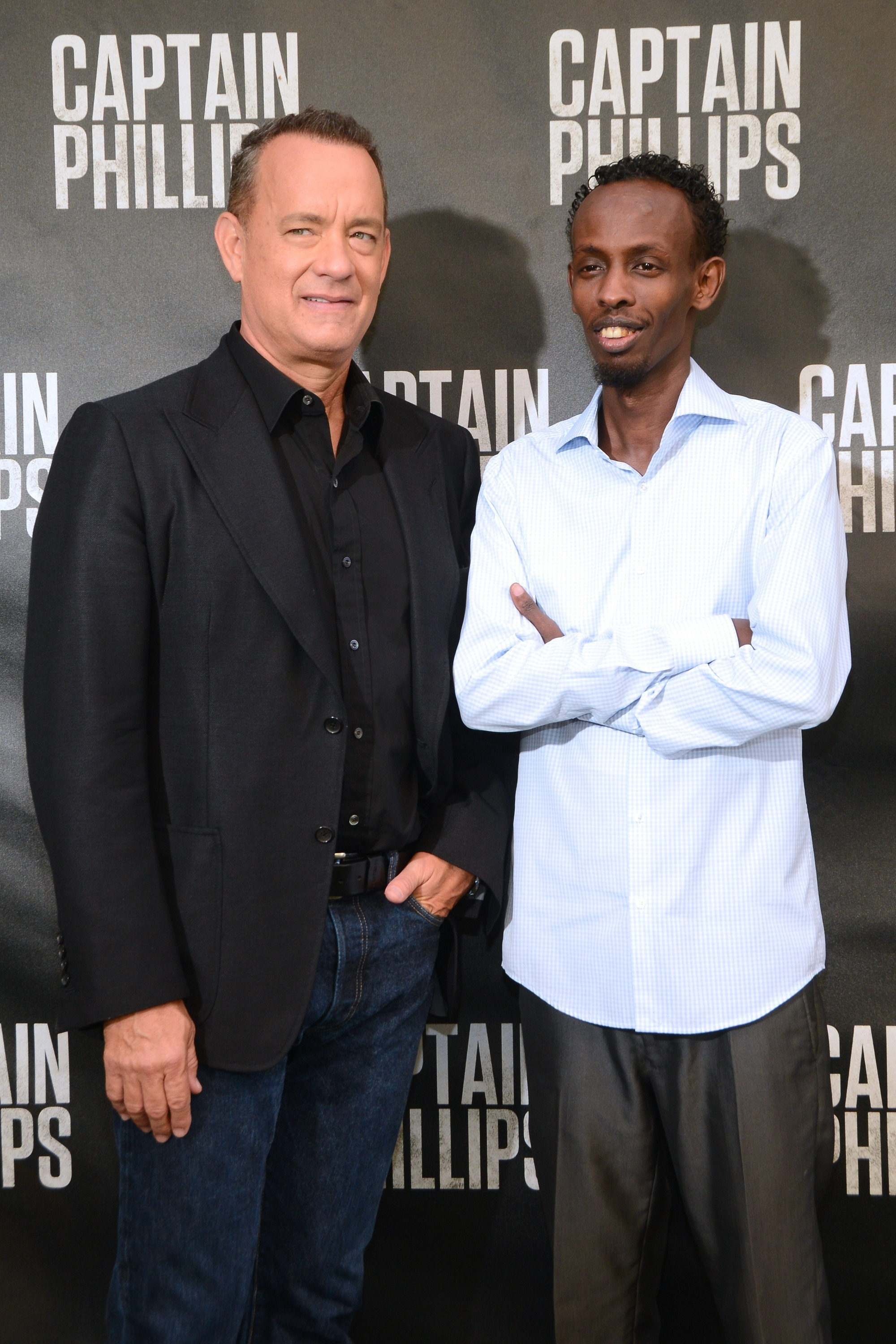 """Oh captain, my captain: Tom Hanks and Barkhad Abdi were in Beverly Hills Sunday for the """"Captain Phillips"""" photo call at the Four Seasons Hotel."""