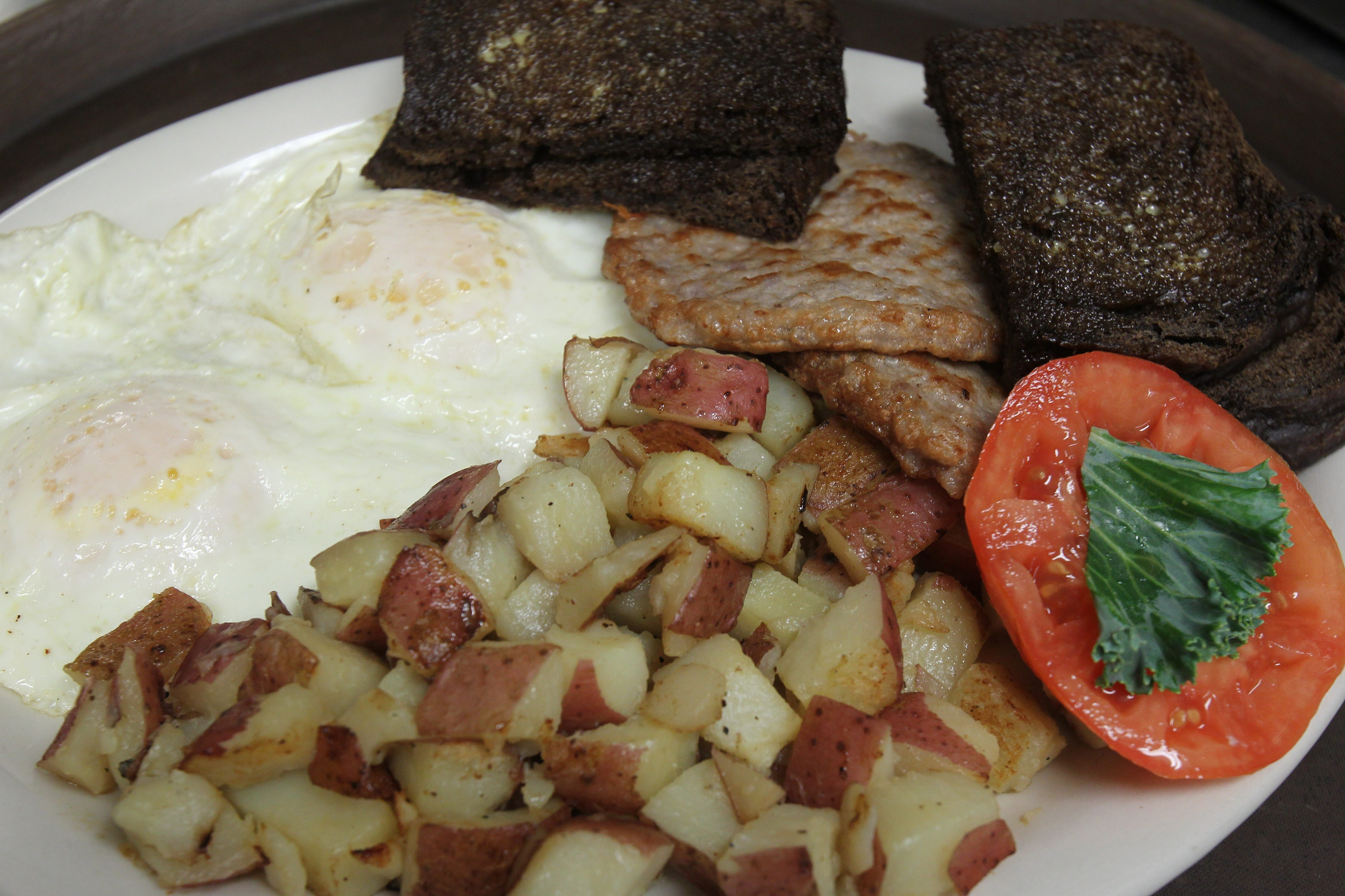 This breakfast at Gordie Harper's Bazaar in Newfane features eggs, sausage, potatoes and toast.
