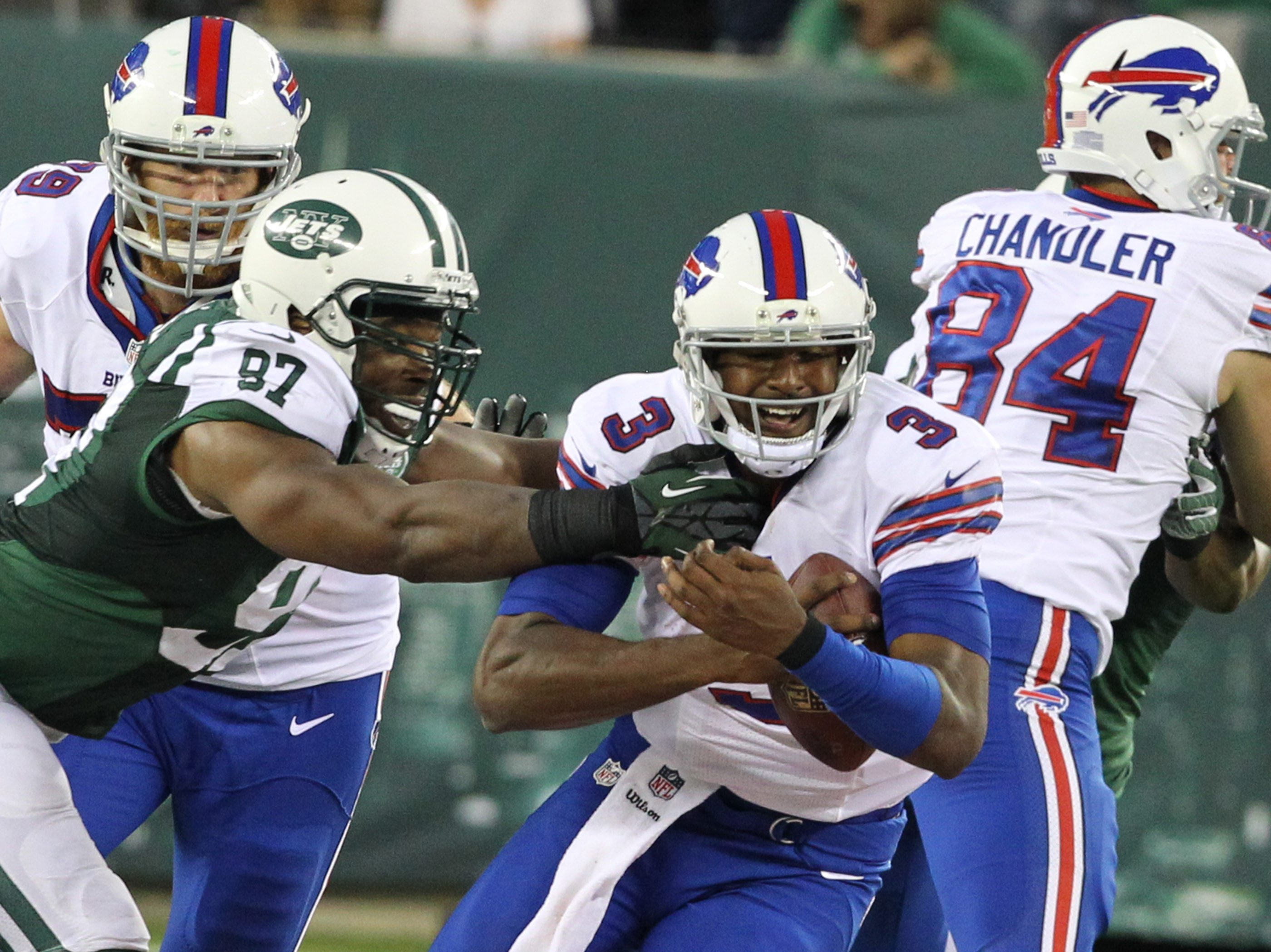 Buffalo Bills quarterback EJ Manuel dropped back a total of 50 times Sunday, attempting 42 passes while getting sacked eight times.