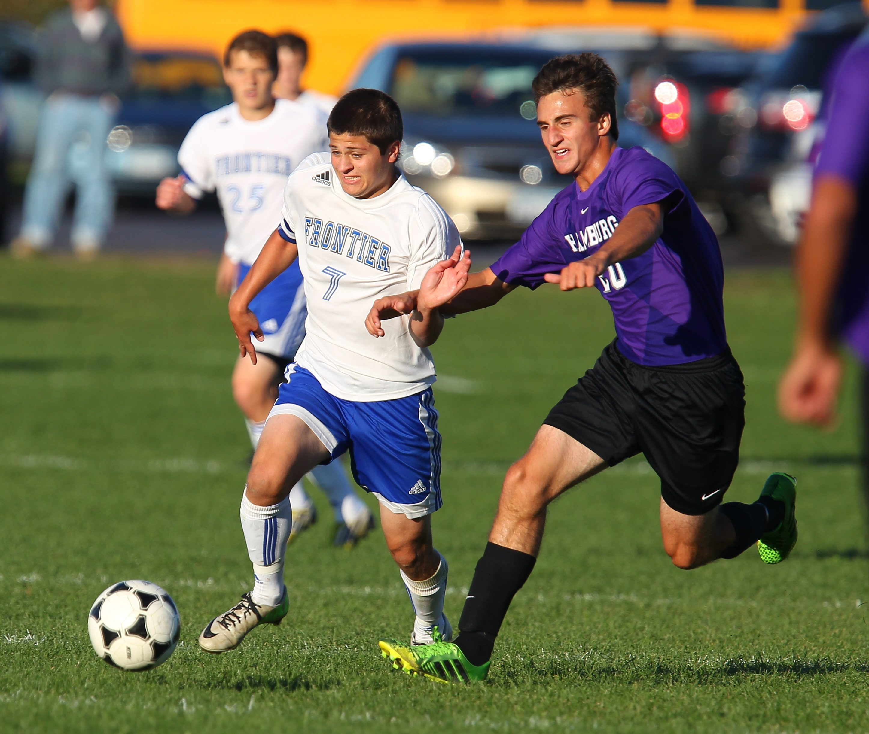 Brandon Galanti scored both goals, giving him 12 this season, in Frontier's 2-1 win over Hamburg.
